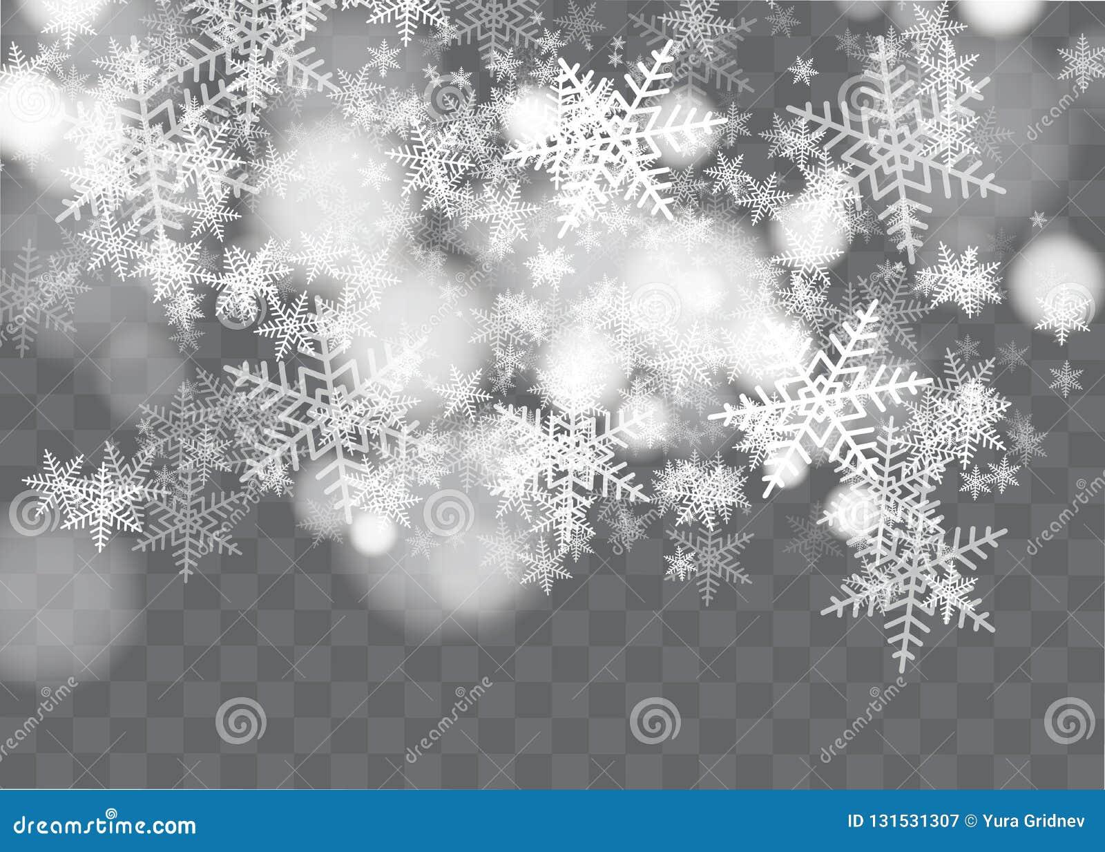 Снег и ветер на прозрачной предпосылке Элемент белого градиента декоративный также вектор иллюстрации притяжки corel зима и снег