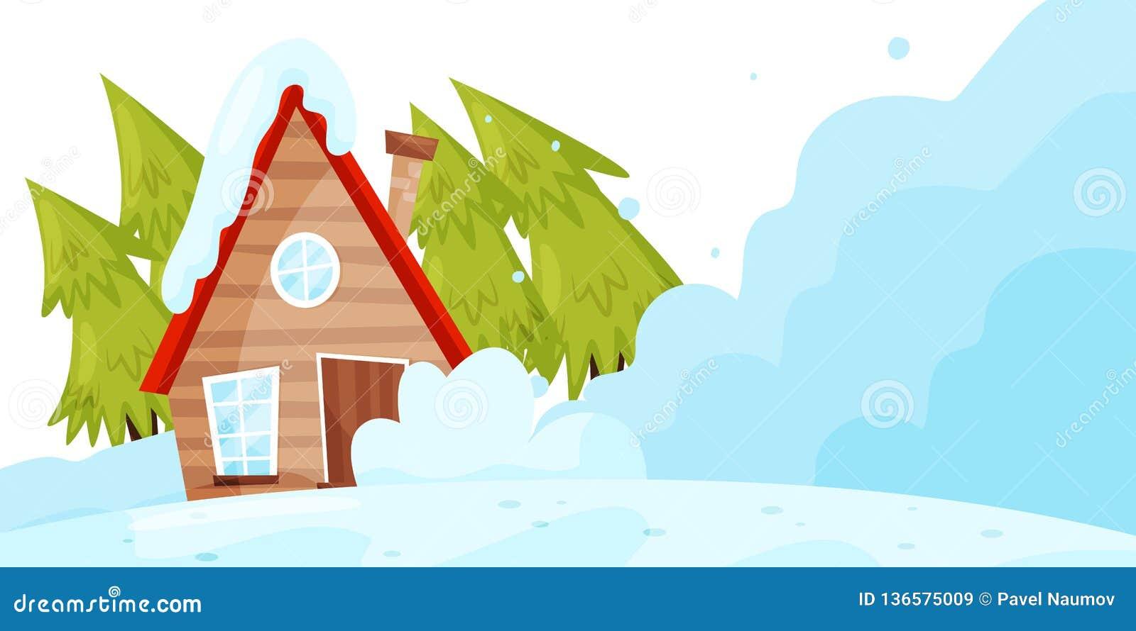 Снег падая вниз на живущий дом Бедствие лавины зима температуры России ландшафта 33c января ural Природная катастрофа Плоский диз