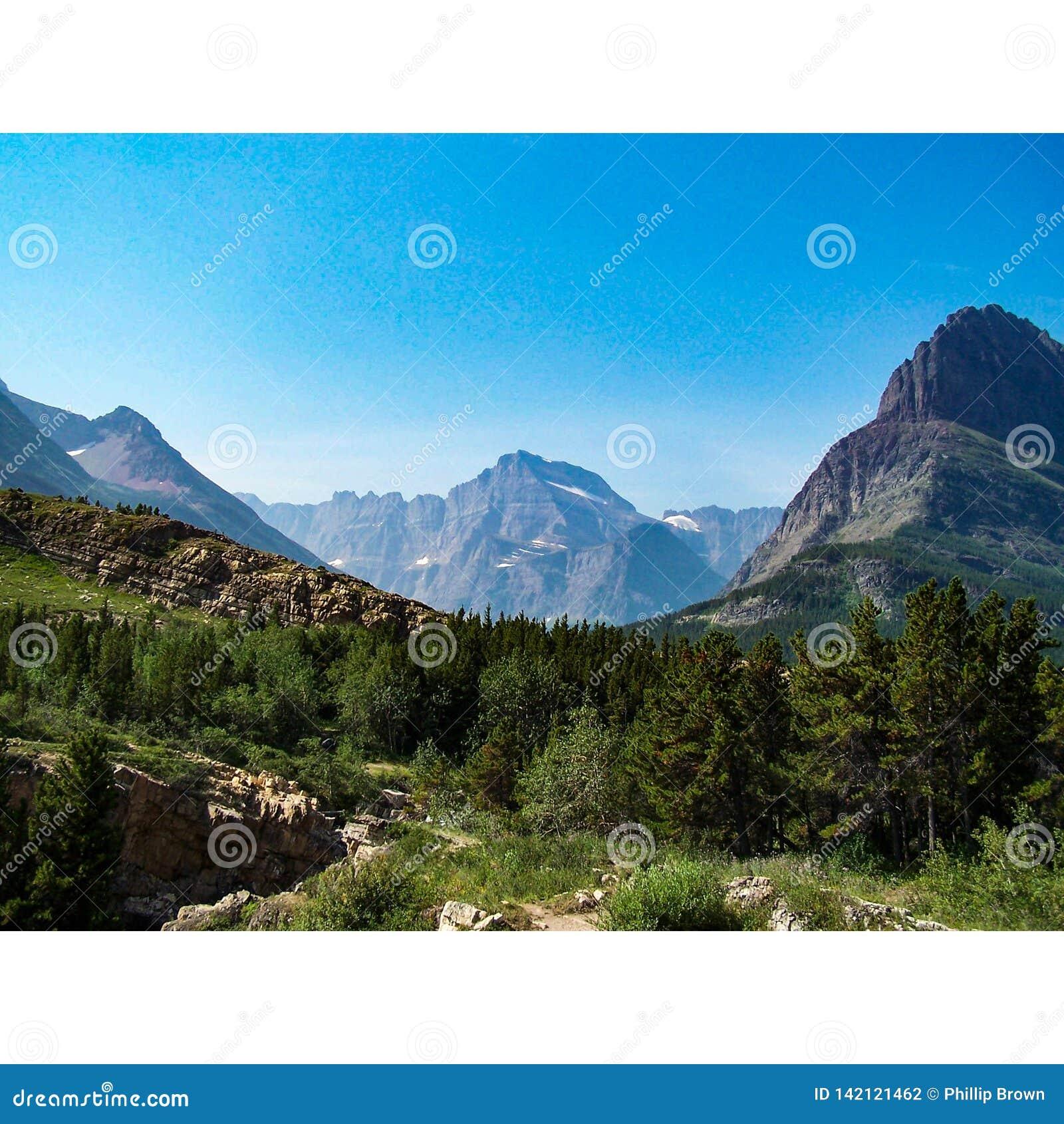 Снег-покрытый национальный парк ледника пиков