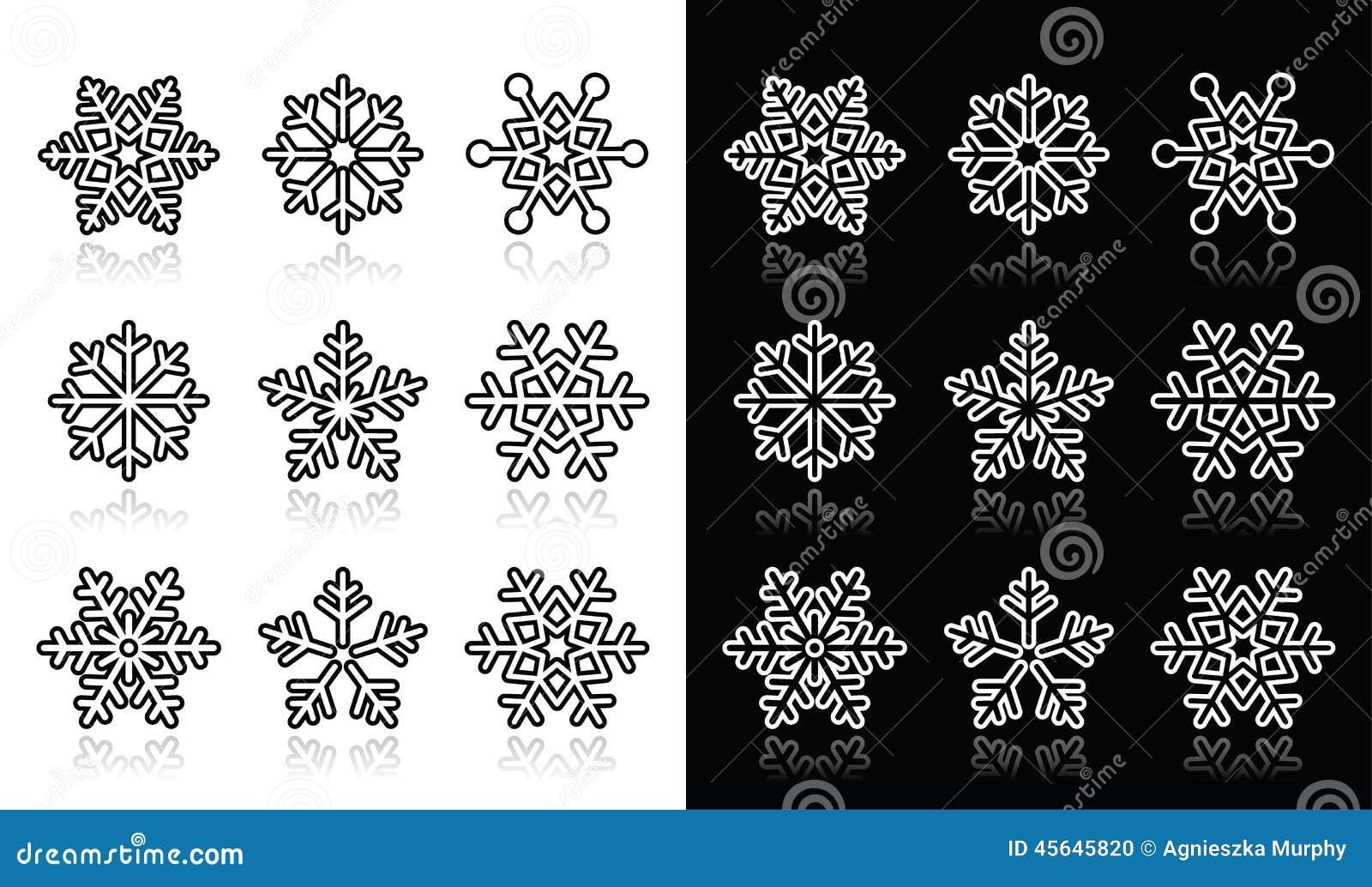 снежинки чёрно белые картинки