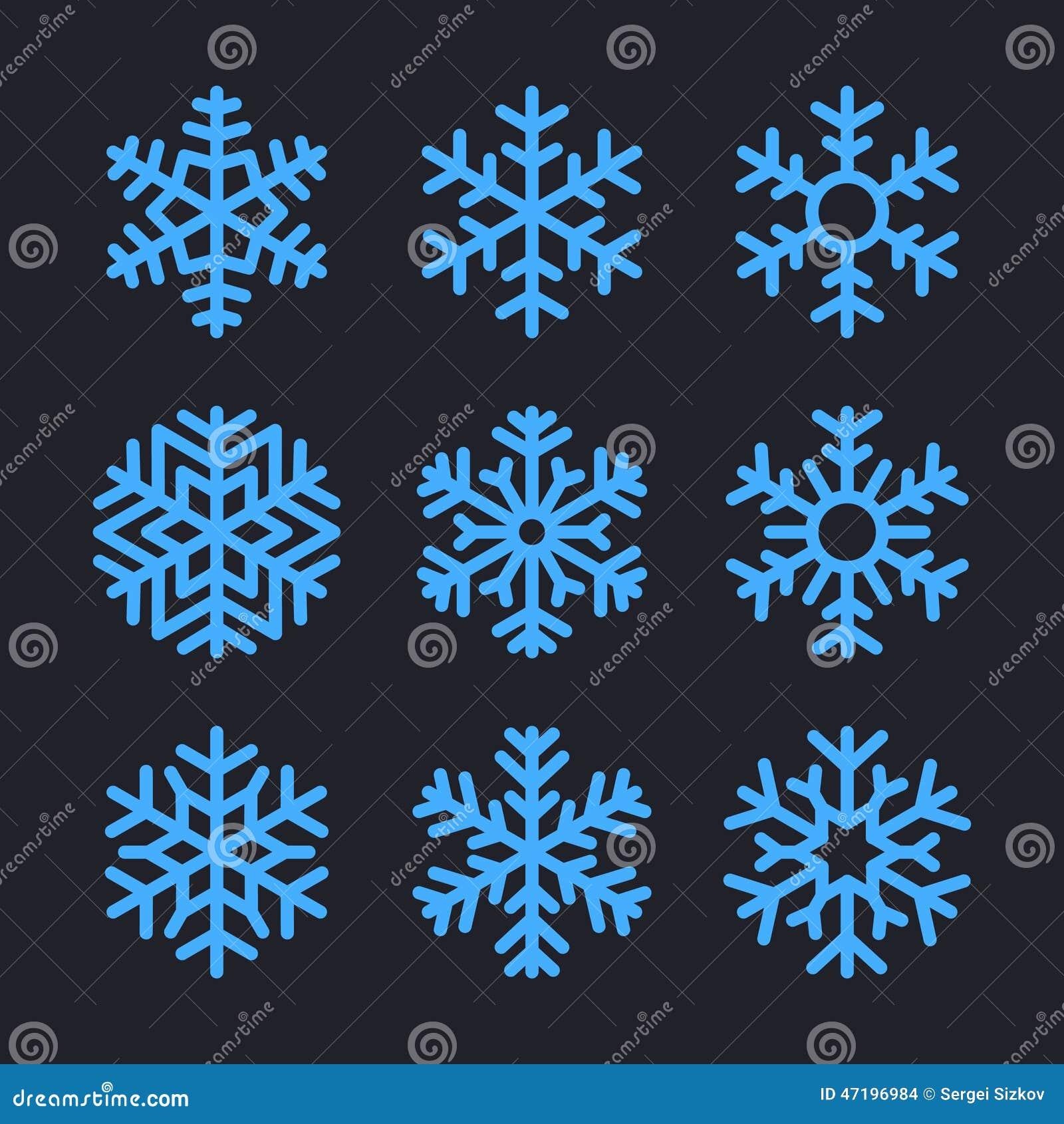 Снежинки установленные для дизайна зимы рождества вектор