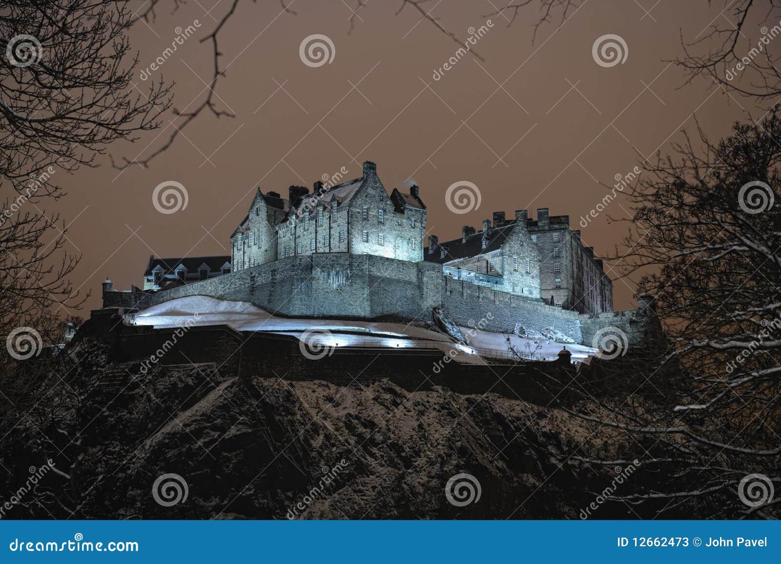 снежок Великобритания Шотландии ночи edinburgh замока