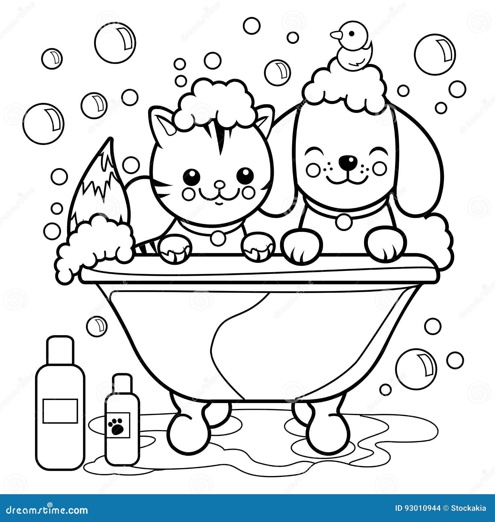 собака и кошка принимая ванну страница книжка раскраски