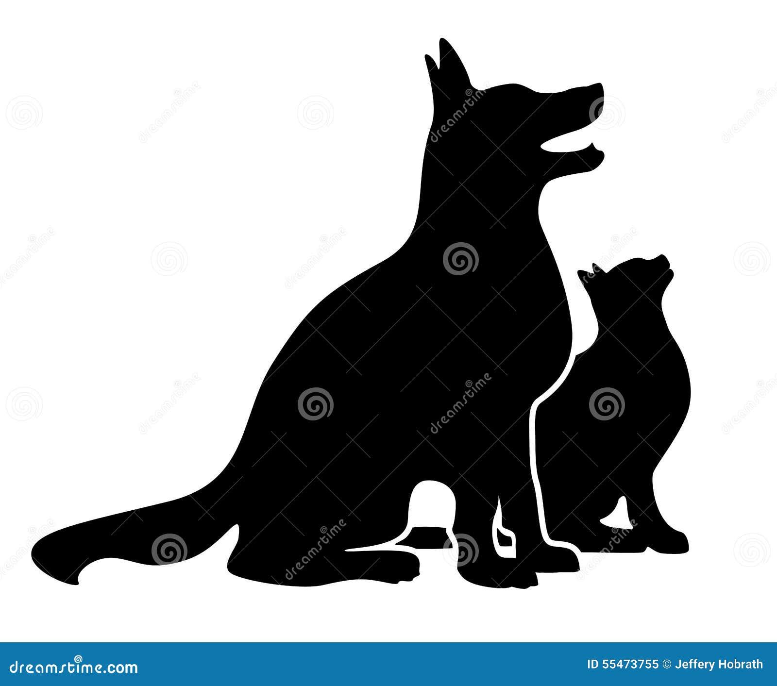 Собака и кошка silhouette