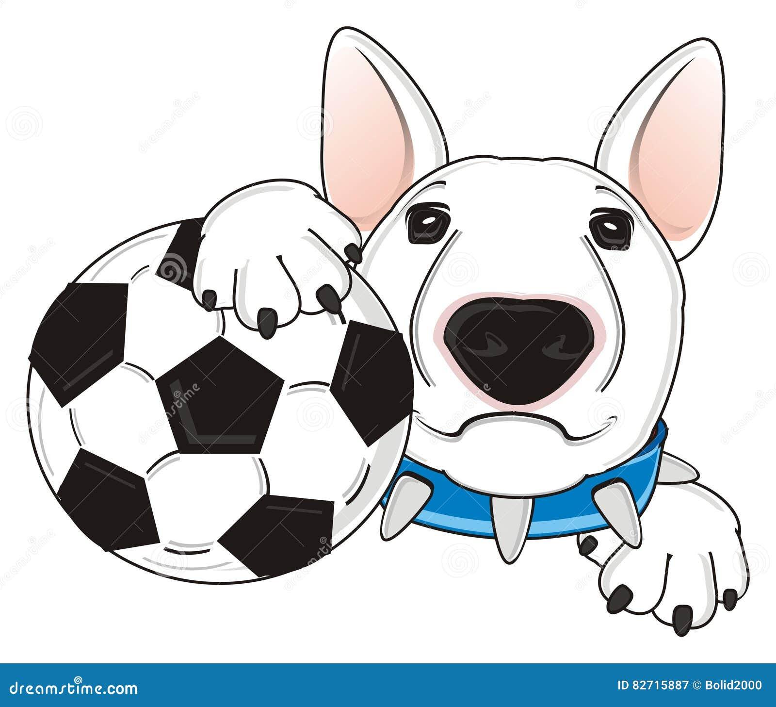 Собака с футбольным мячом иллюстрация штока. иллюстрации ...