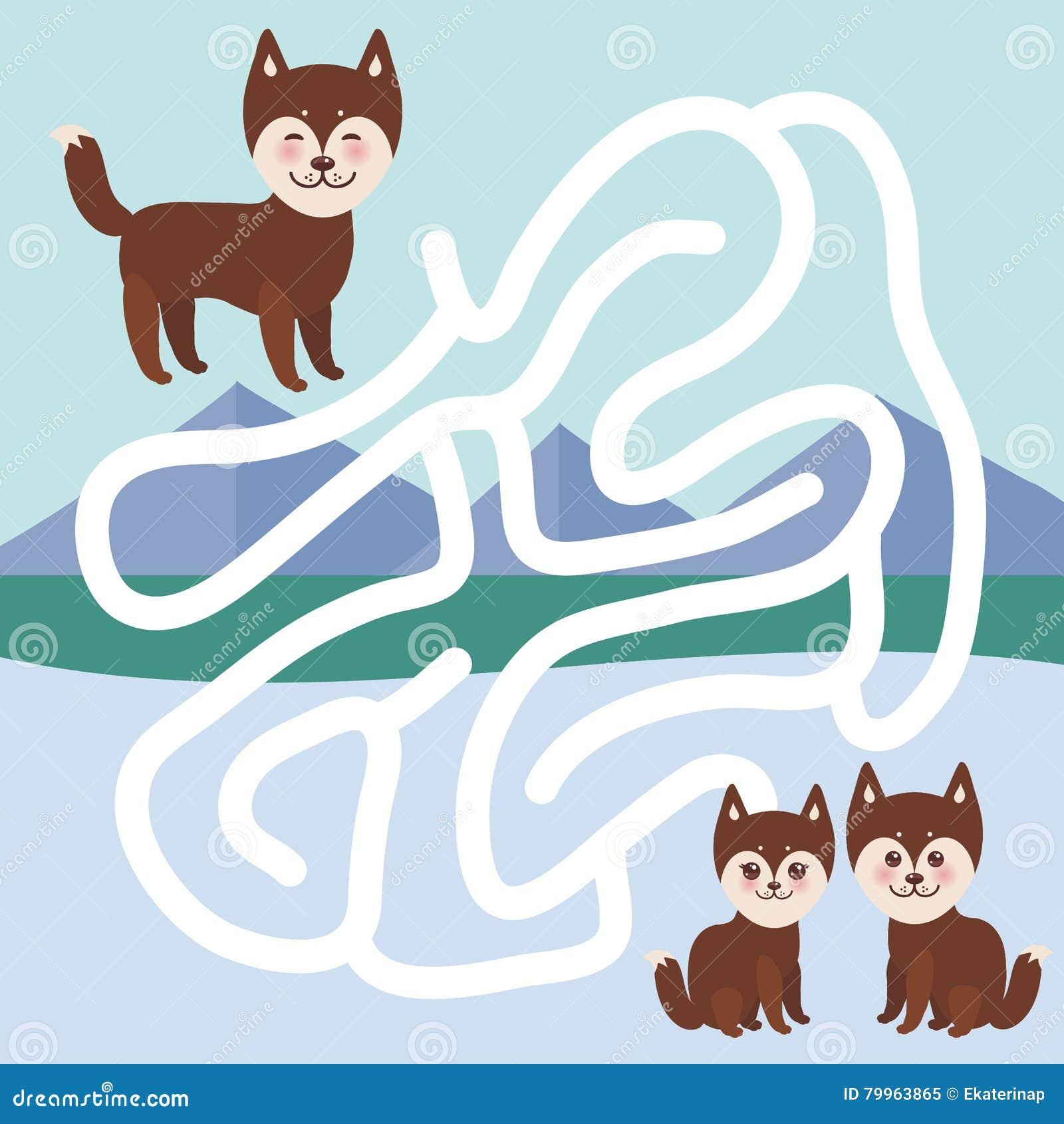 Собака Kawaii смешная коричневая осиплая, сторона с ...