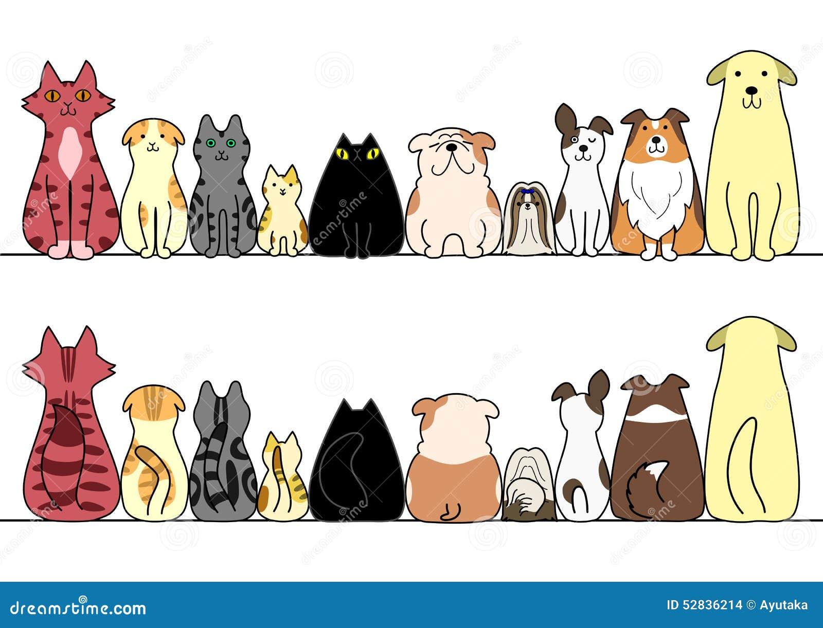 Собаки и кошки в ряд с космосом, фронтом и задней частью экземпляра
