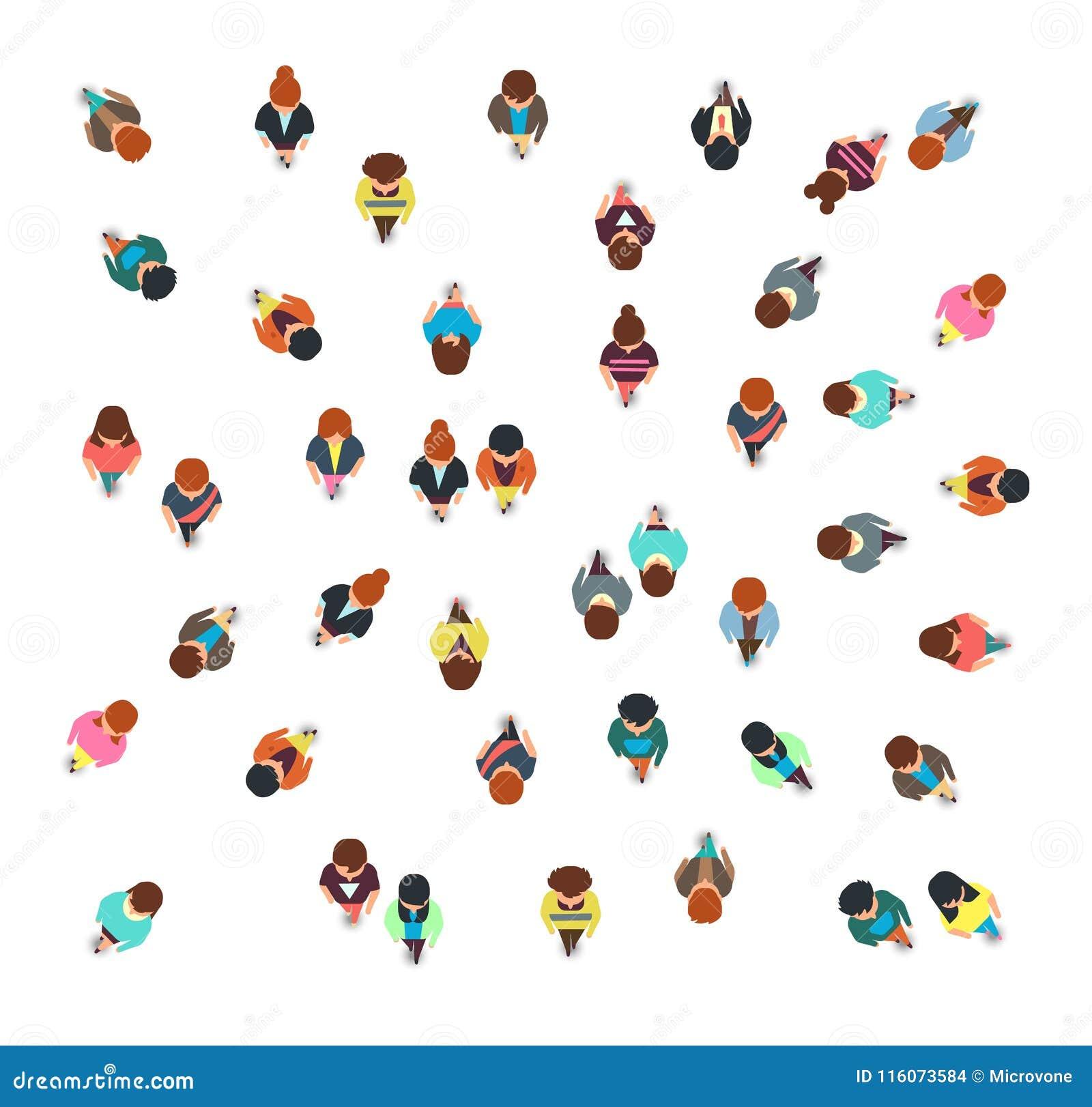 Собирающ люди собирают взгляд сверху, идя людей и женщин, социальную изолированную иллюстрацию вектора толпы