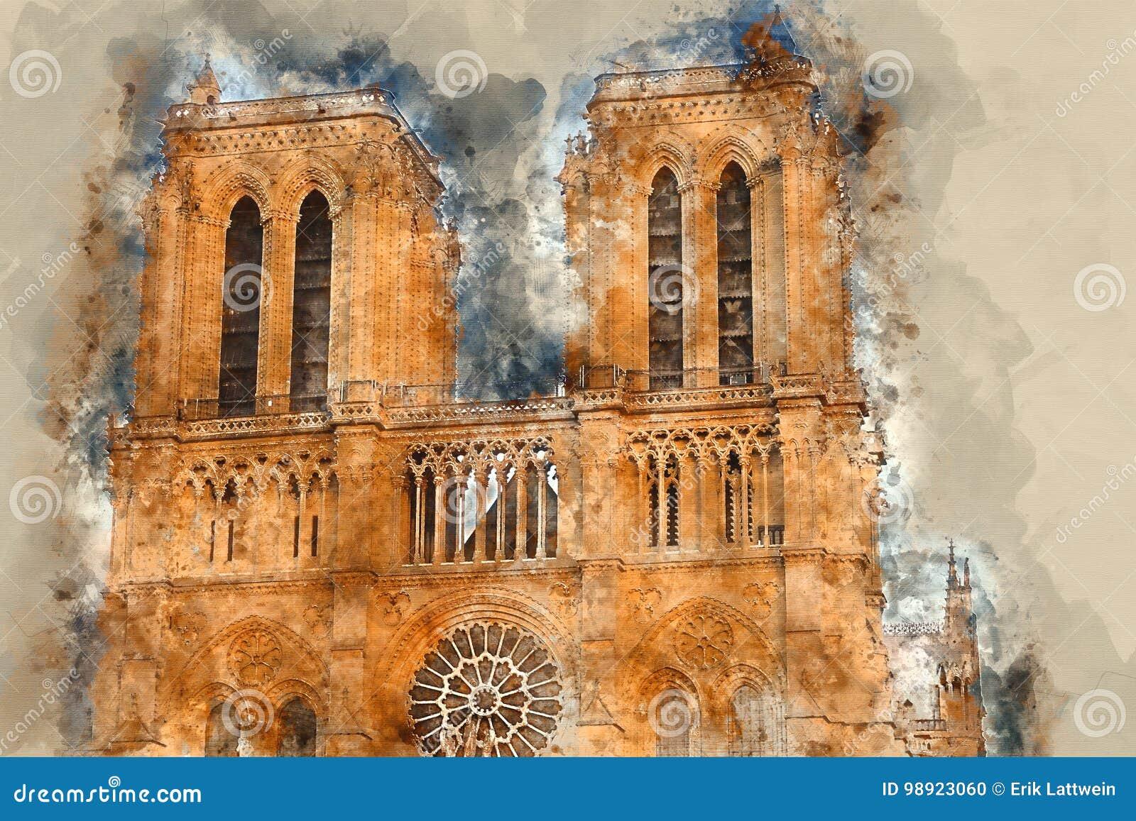 Собор Парижа Нотр-Дам - туристическая достопримечательность