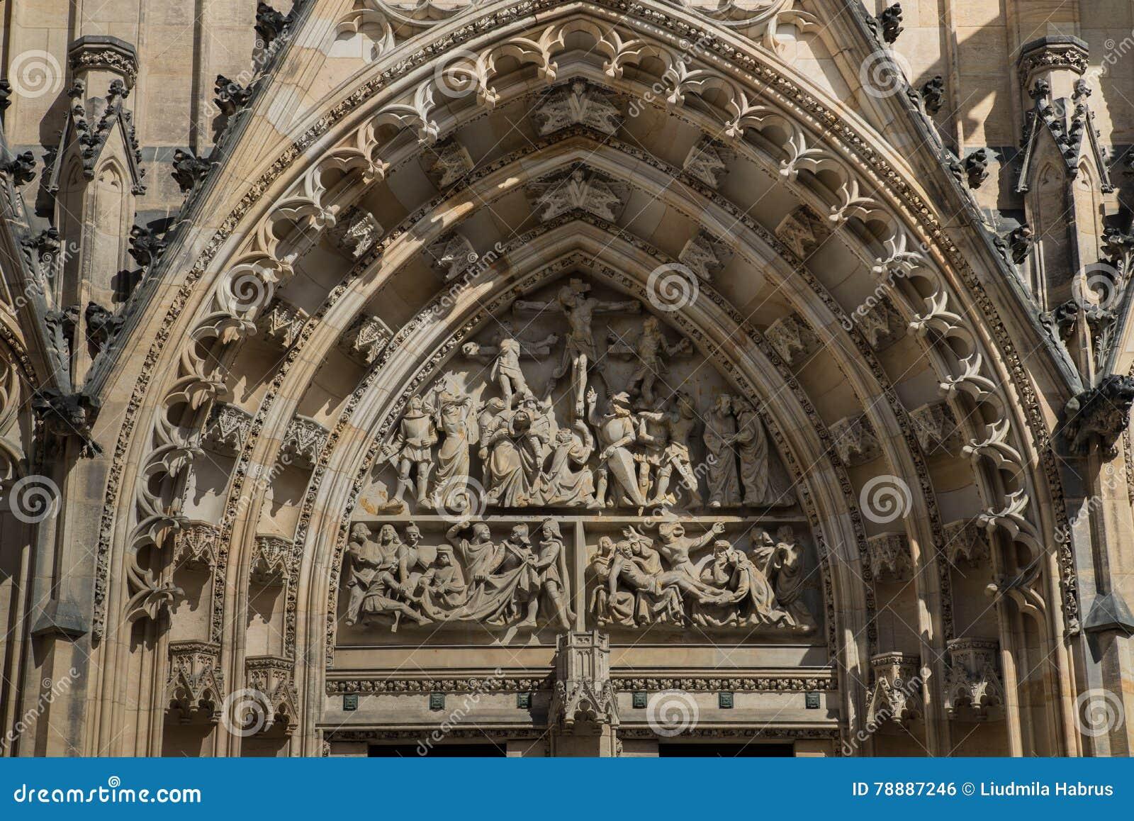 Собор Vitus Святого в Праге, чехии Деталь передней группы