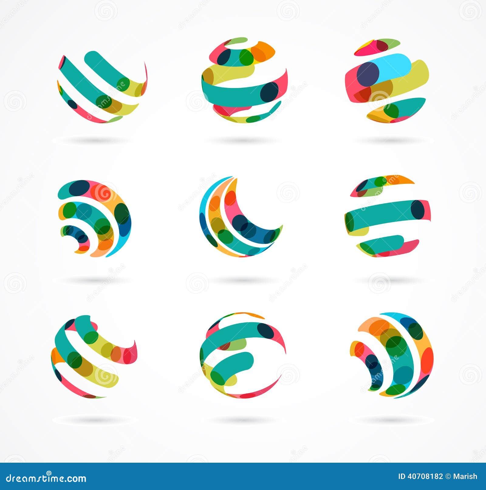 Собрание абстрактных красочных значков дела