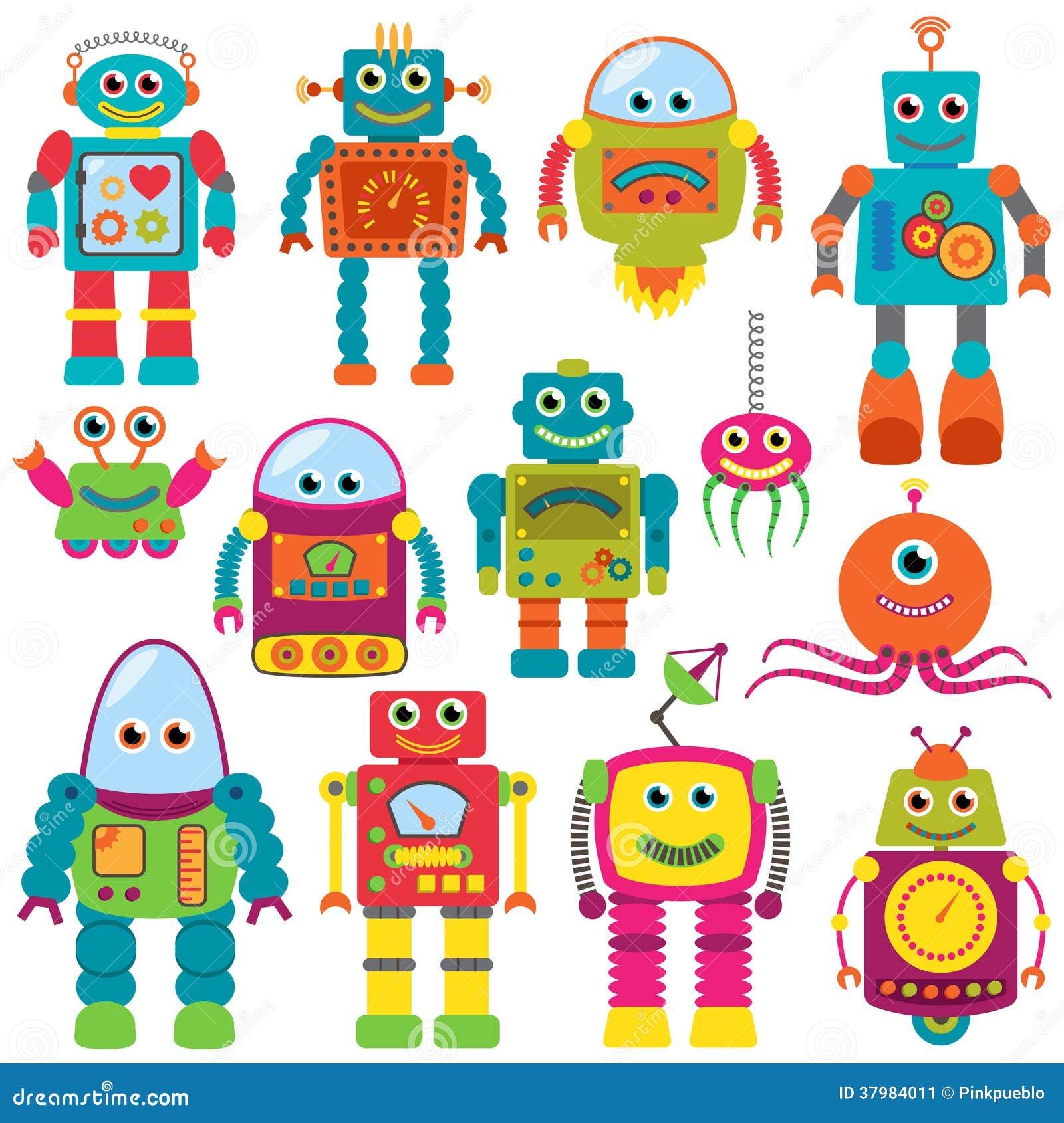 Собрание вектора красочных ретро роботов