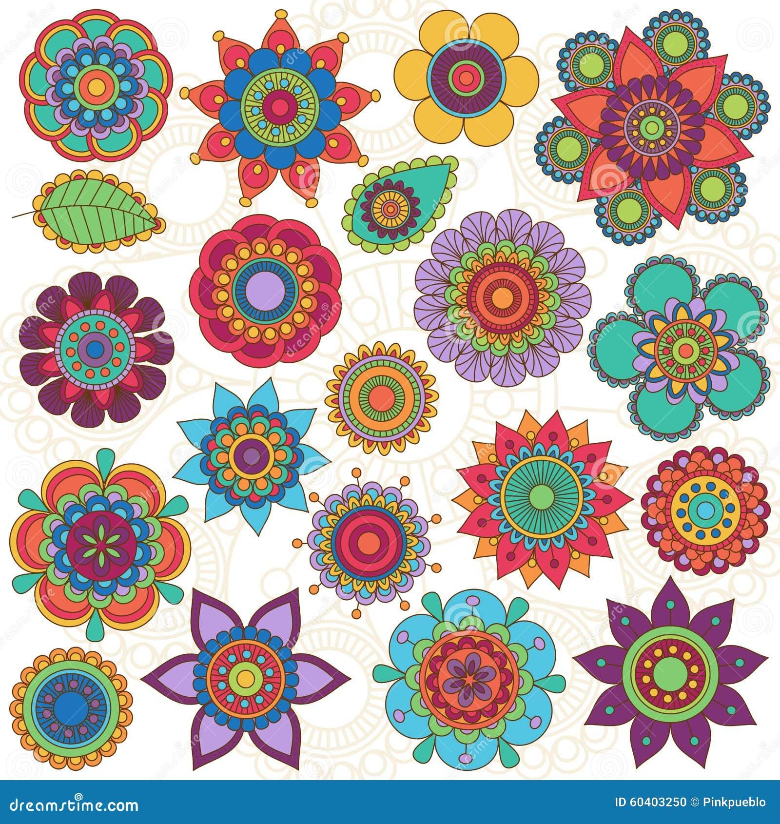 Собрание вектора цветков стиля Doodle