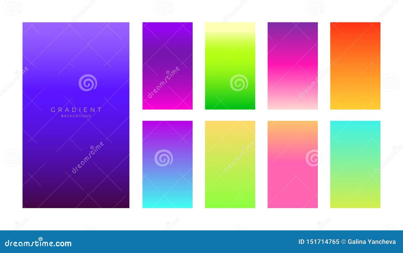 Собрание градиентов Экраны смартфона с яркими цветами Абстрактный набор предпосылок