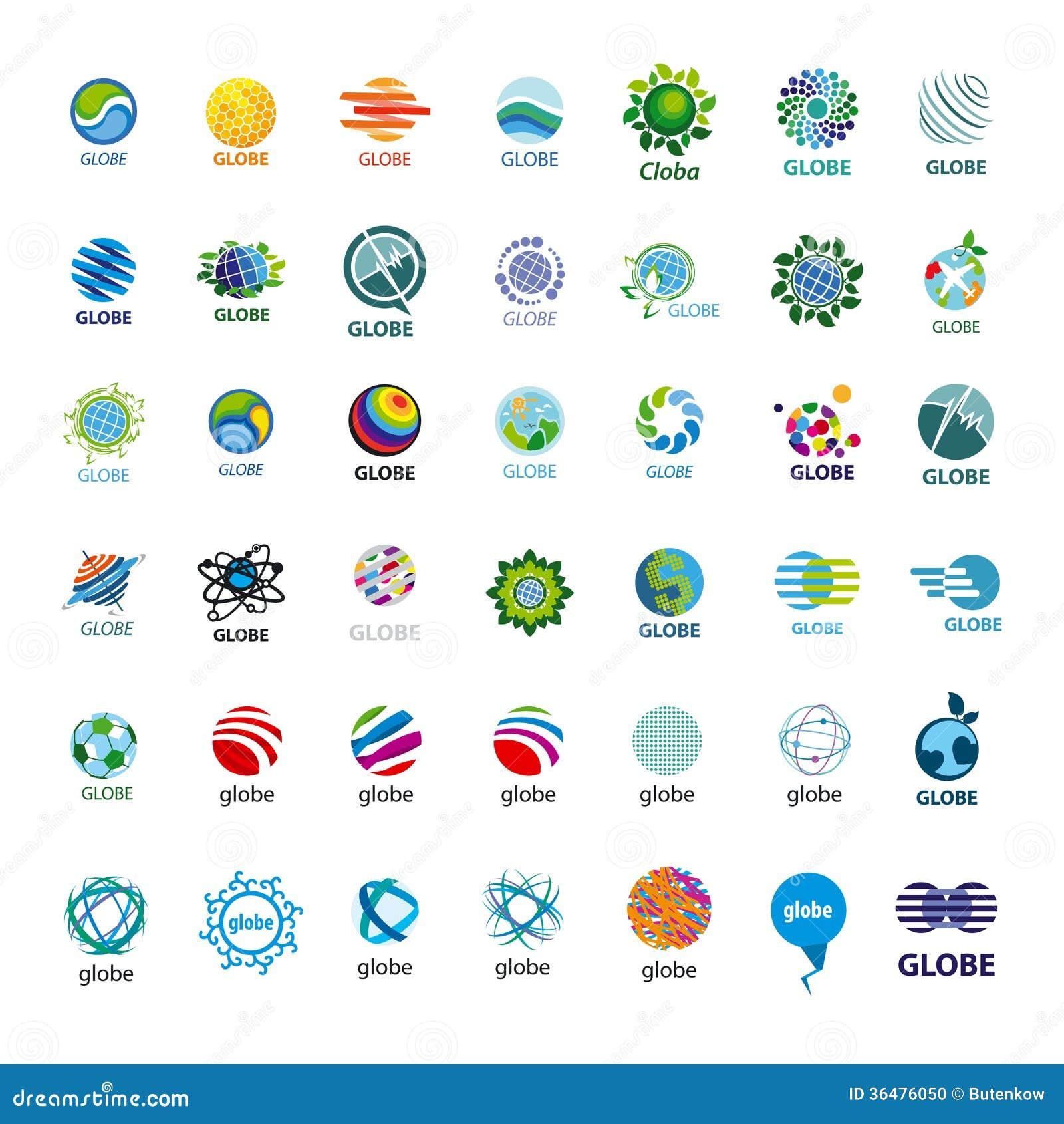 Собрание глобуса логотипов вектора