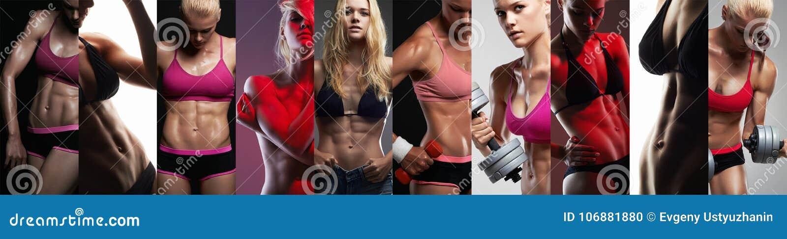 Собрание женских тел спорта Девушки коллажа мышечные