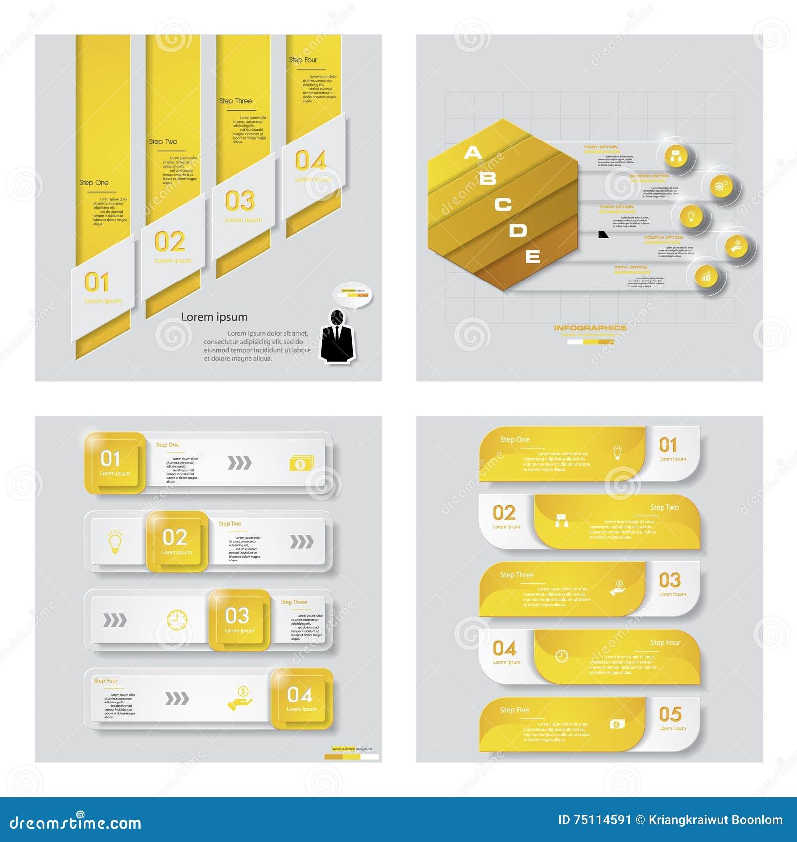 Собрание 4 желтых планов шаблона/графика или вебсайта цвета Предпосылка вектора
