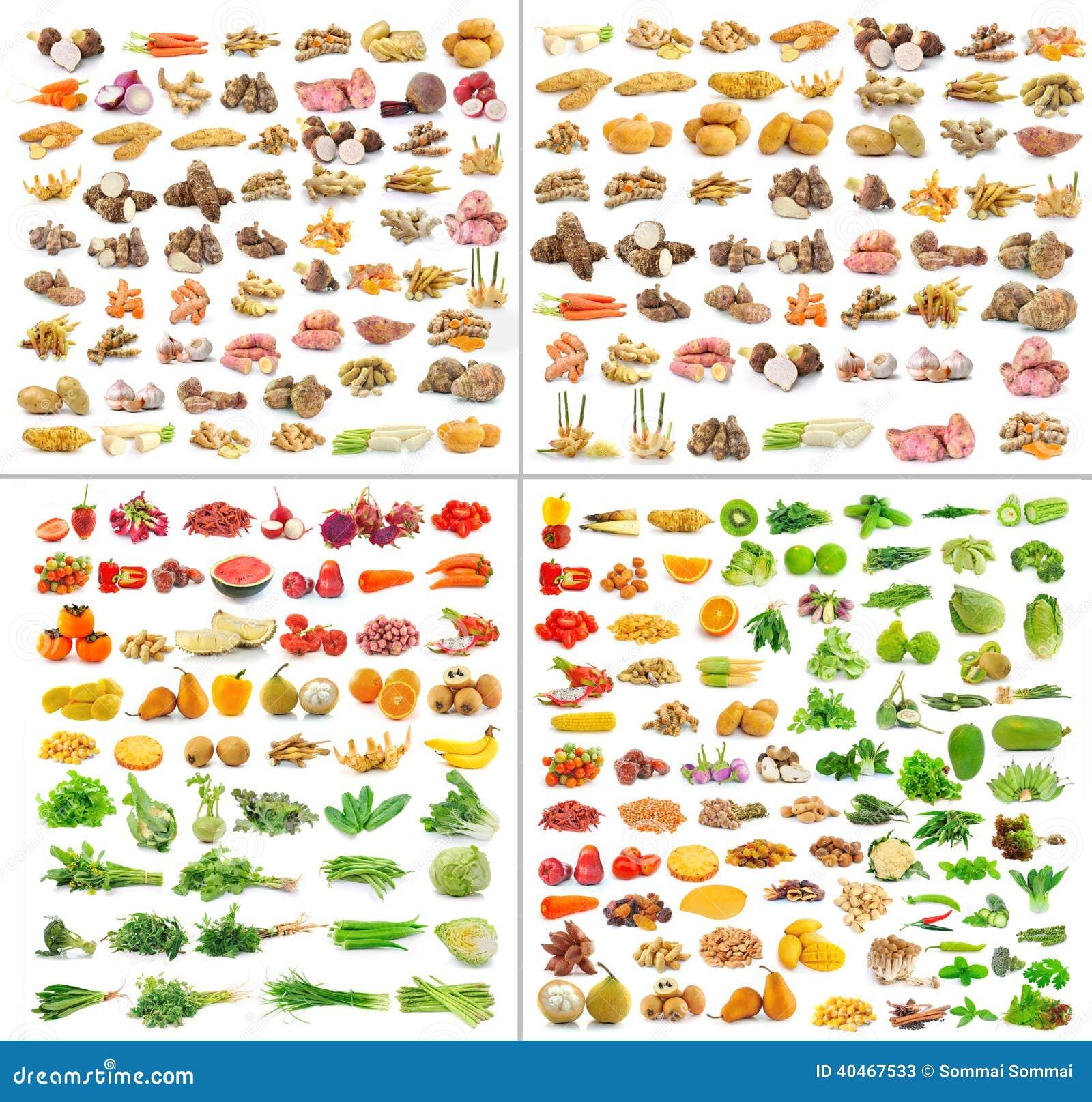 Собрание изолированных фруктов и овощей
