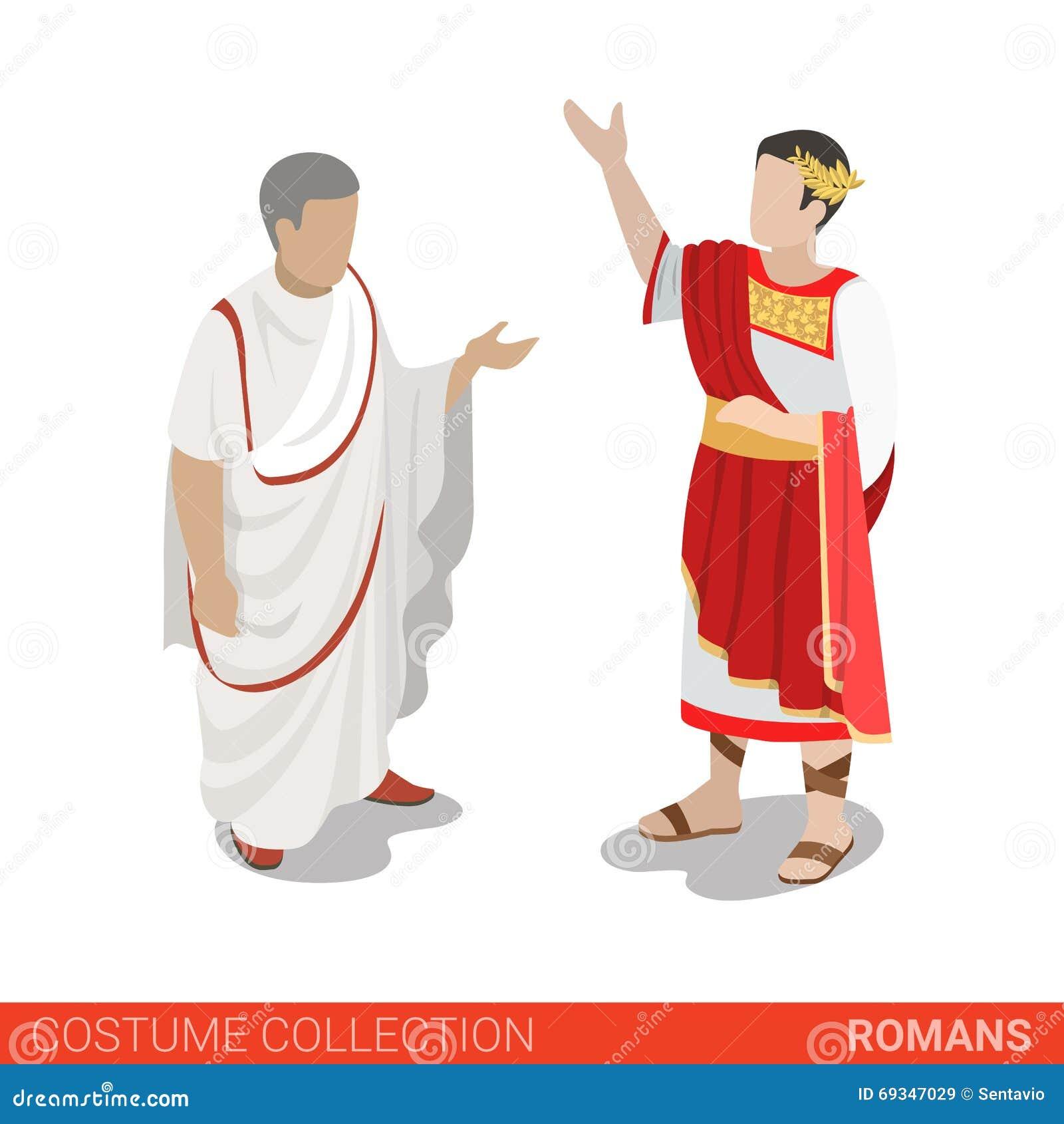 Собрание костюма 3d сенатора цезаря римской империи плоское равновеликое