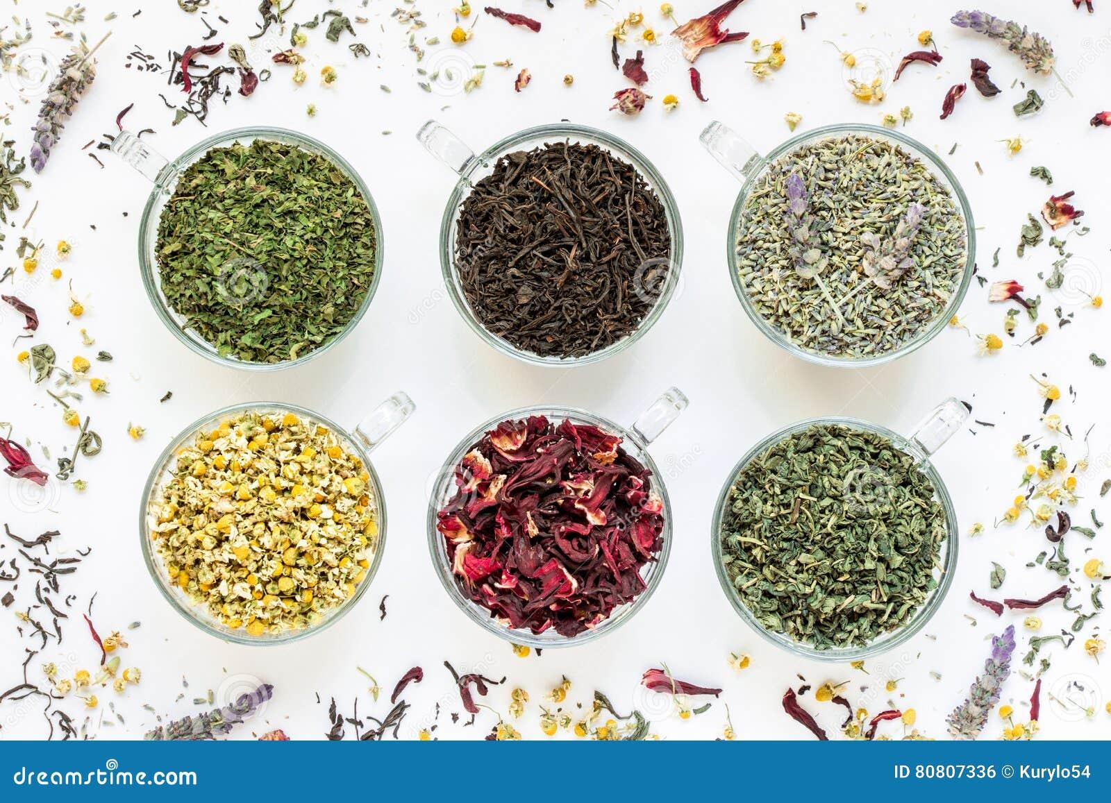 Собрание от 6 разных видов листьев чая