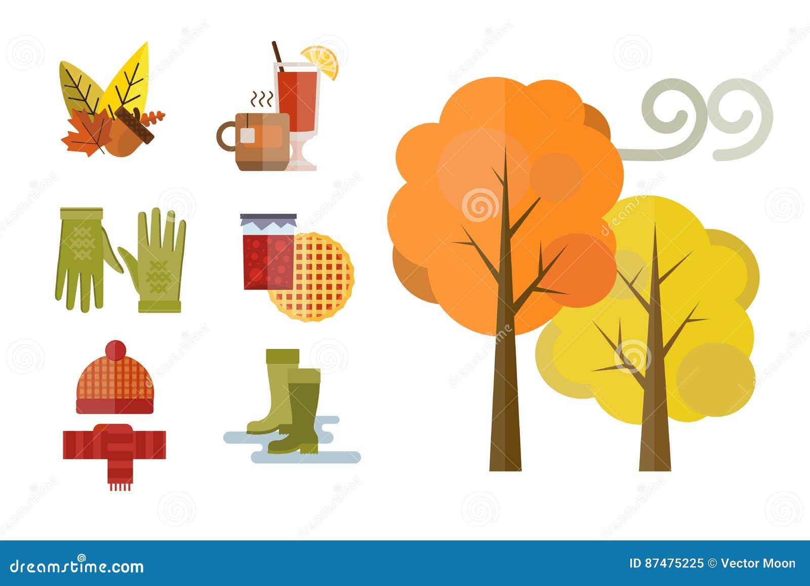 Собрание одежд осени установило детали жолудь падения выходит ботинки носок parka плаща пальто перчаток шарфа шляпы дерева