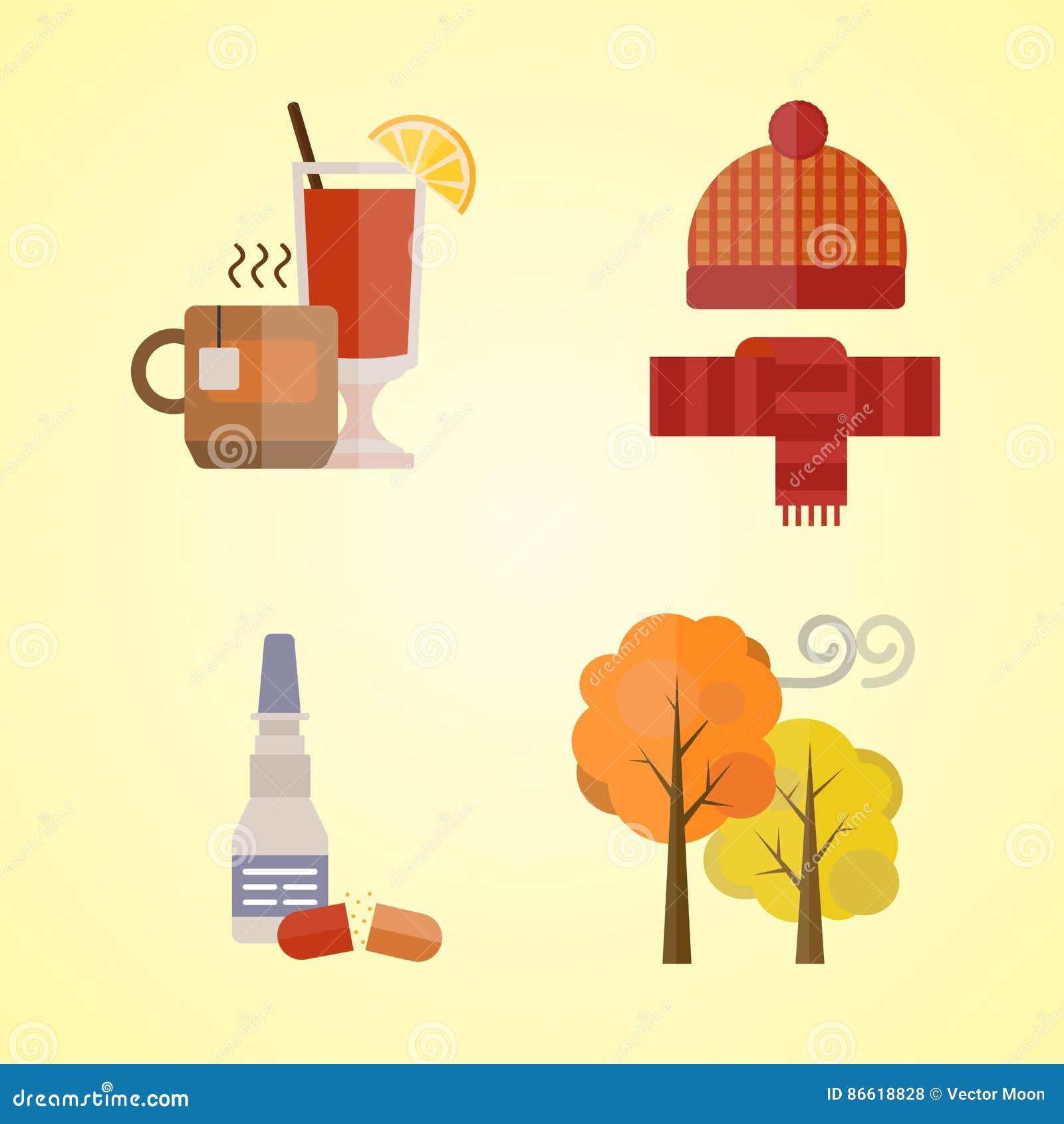 Собрание одежд осени установило детали падение выходит холод дерева красный чай перчаток шарфа шляпы цветов желтого цвета обдумыв
