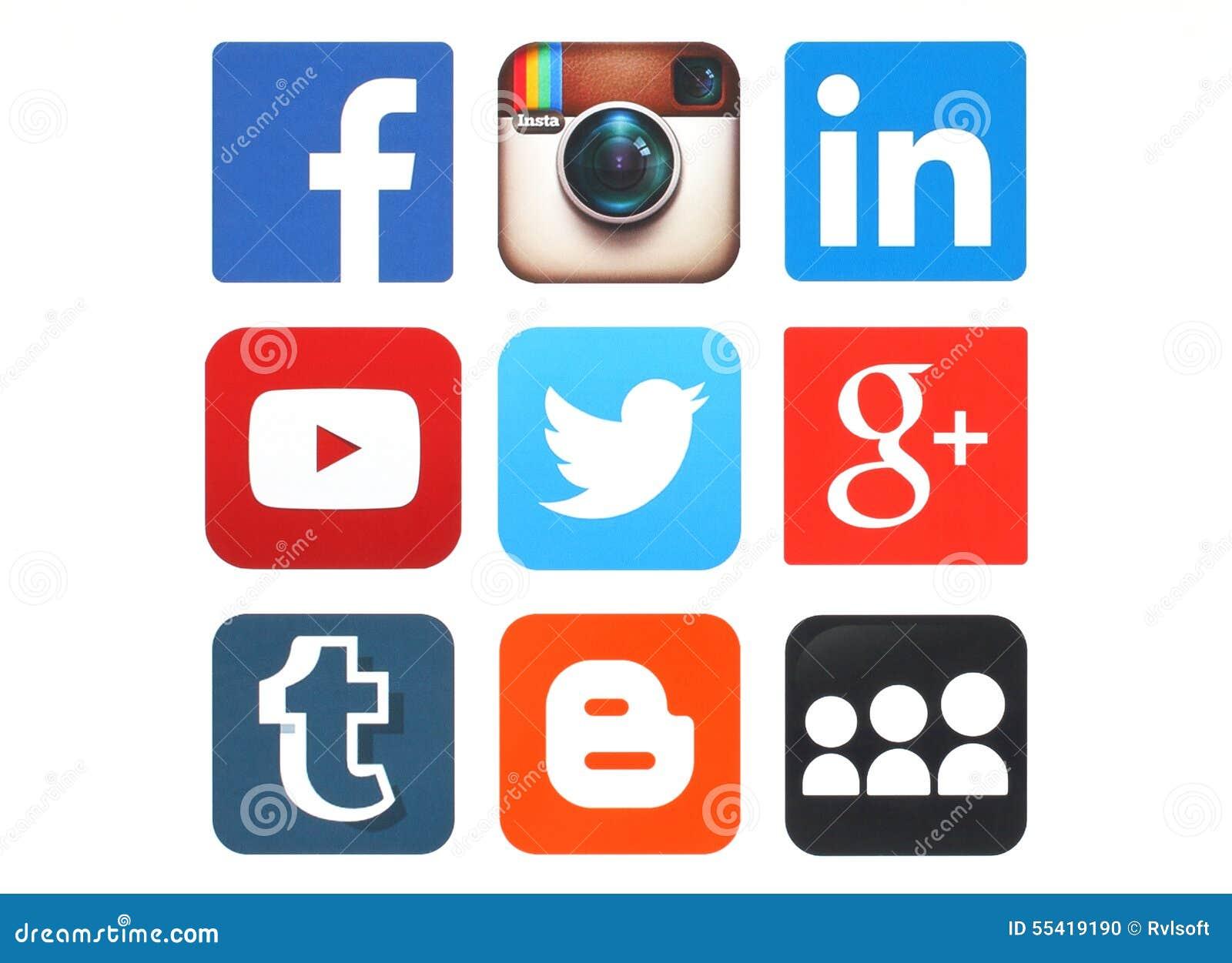 Собрание популярных социальных логотипов средств массовой информации напечатало на бумаге