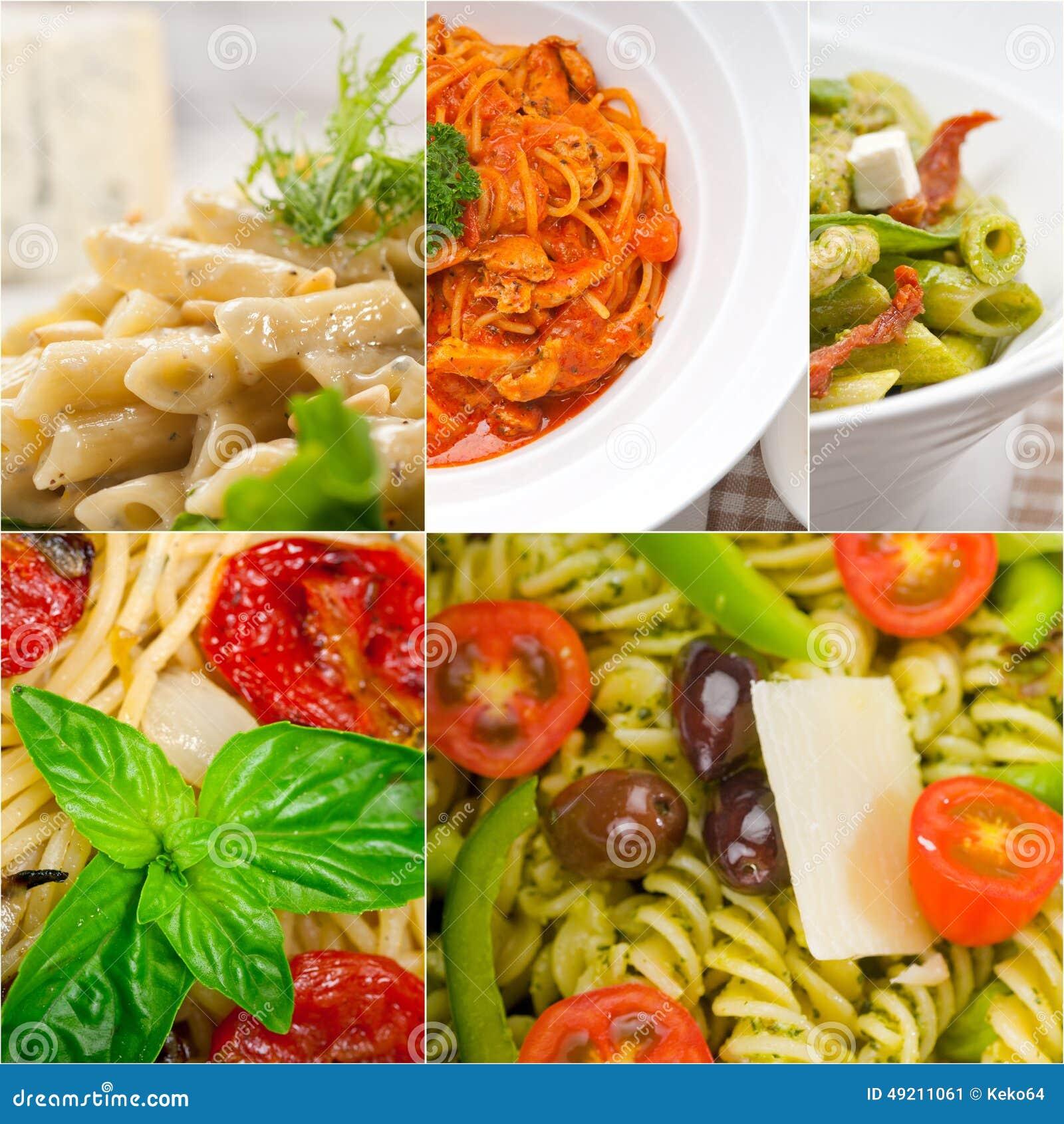 Собрание разного вида итальянского коллажа макаронных изделий