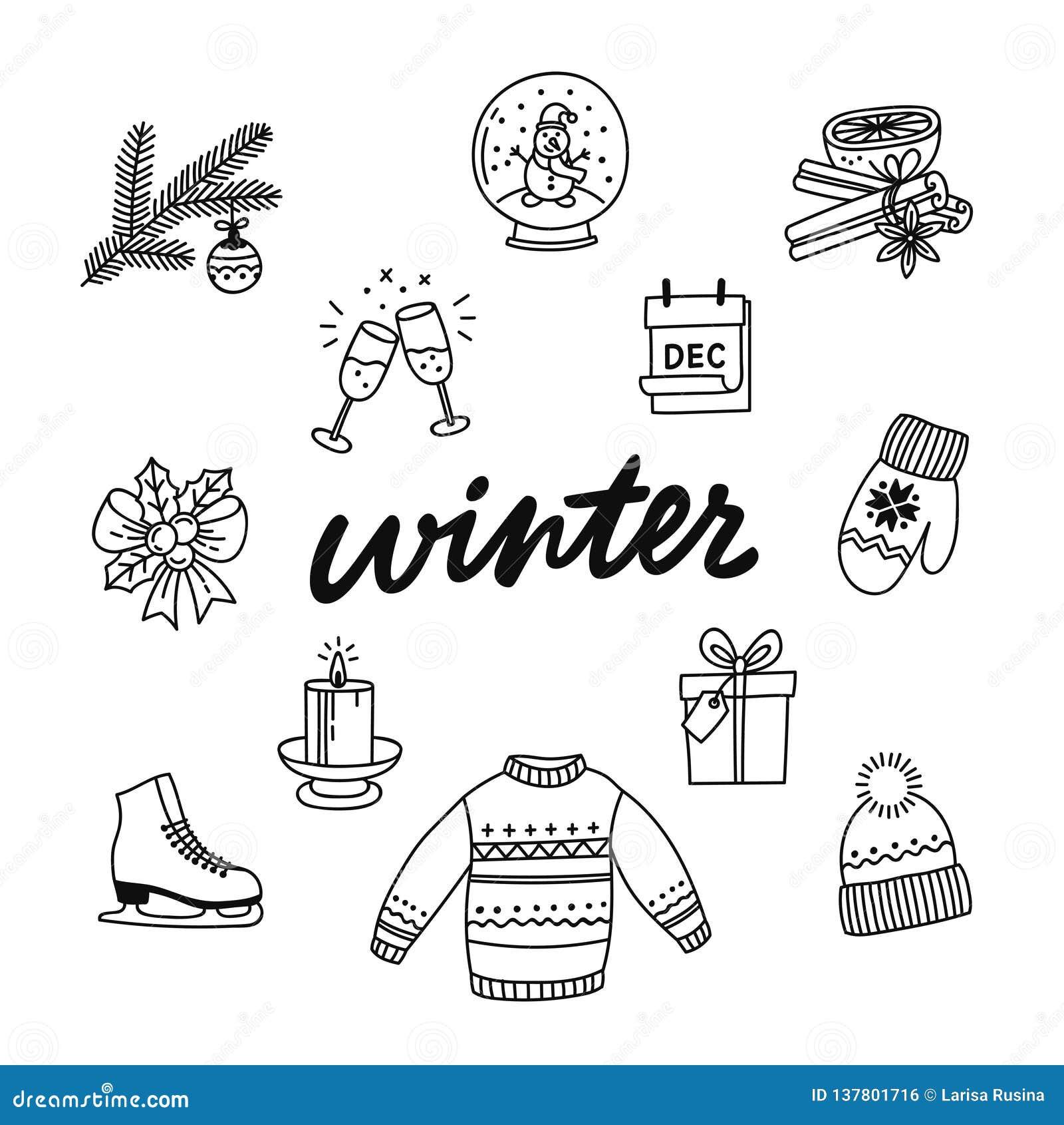 Собрание руки вычерченное атрибутов зимы