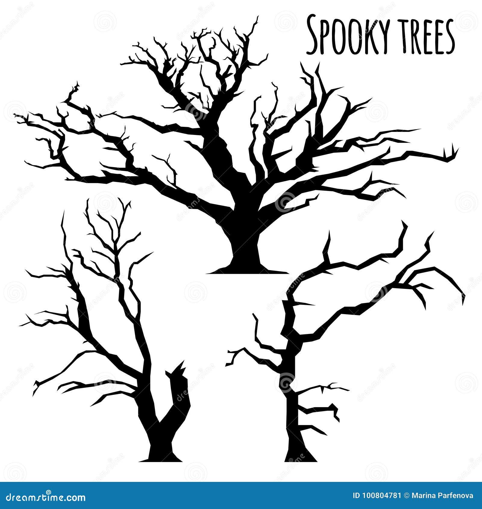 Собрание силуэтов деревьев на белой предпосылке