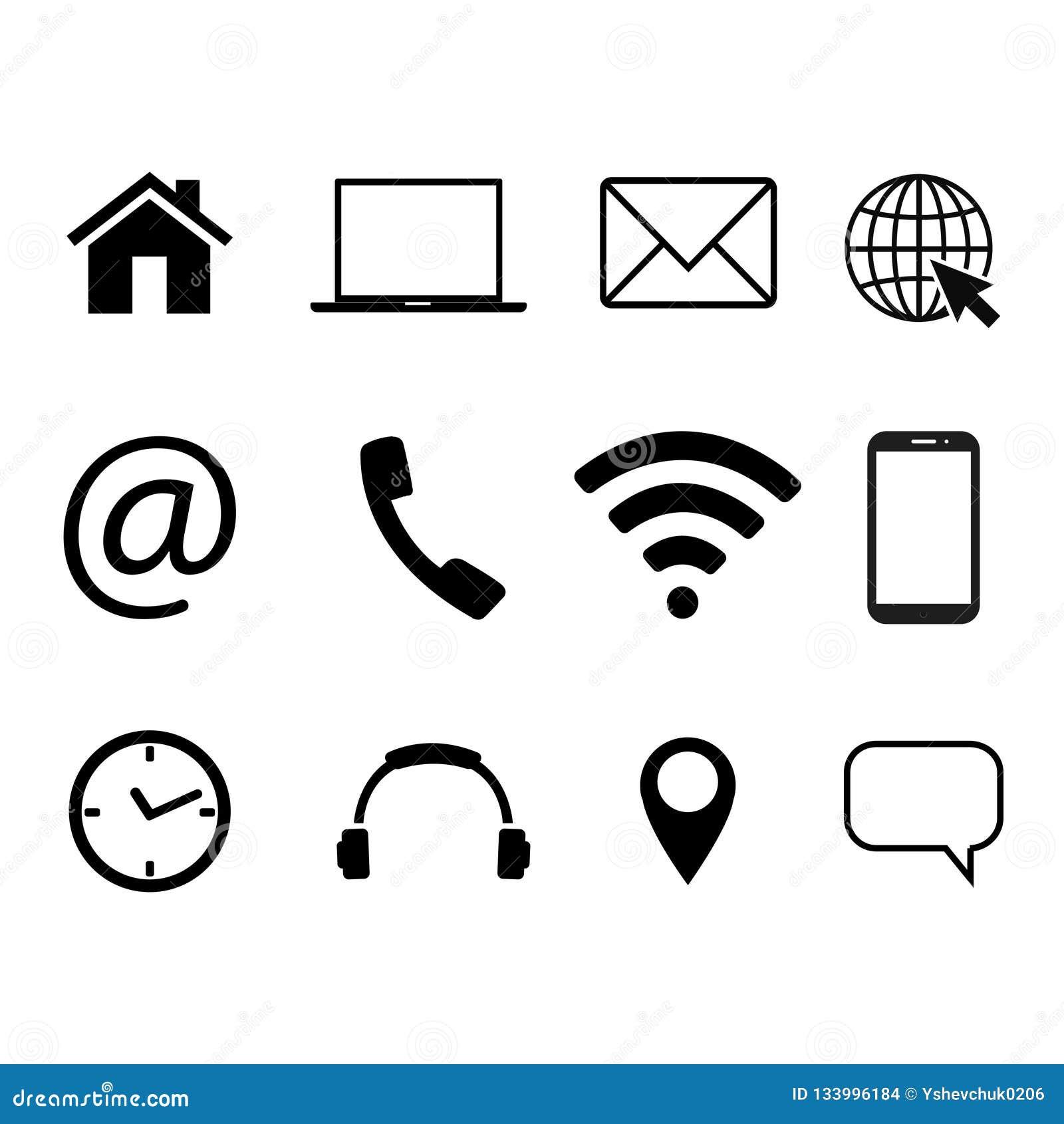 Собрание символов связи Контакт, электронная почта, мобильный телефон, сообщение, значки беспроводной технологии также вектор илл