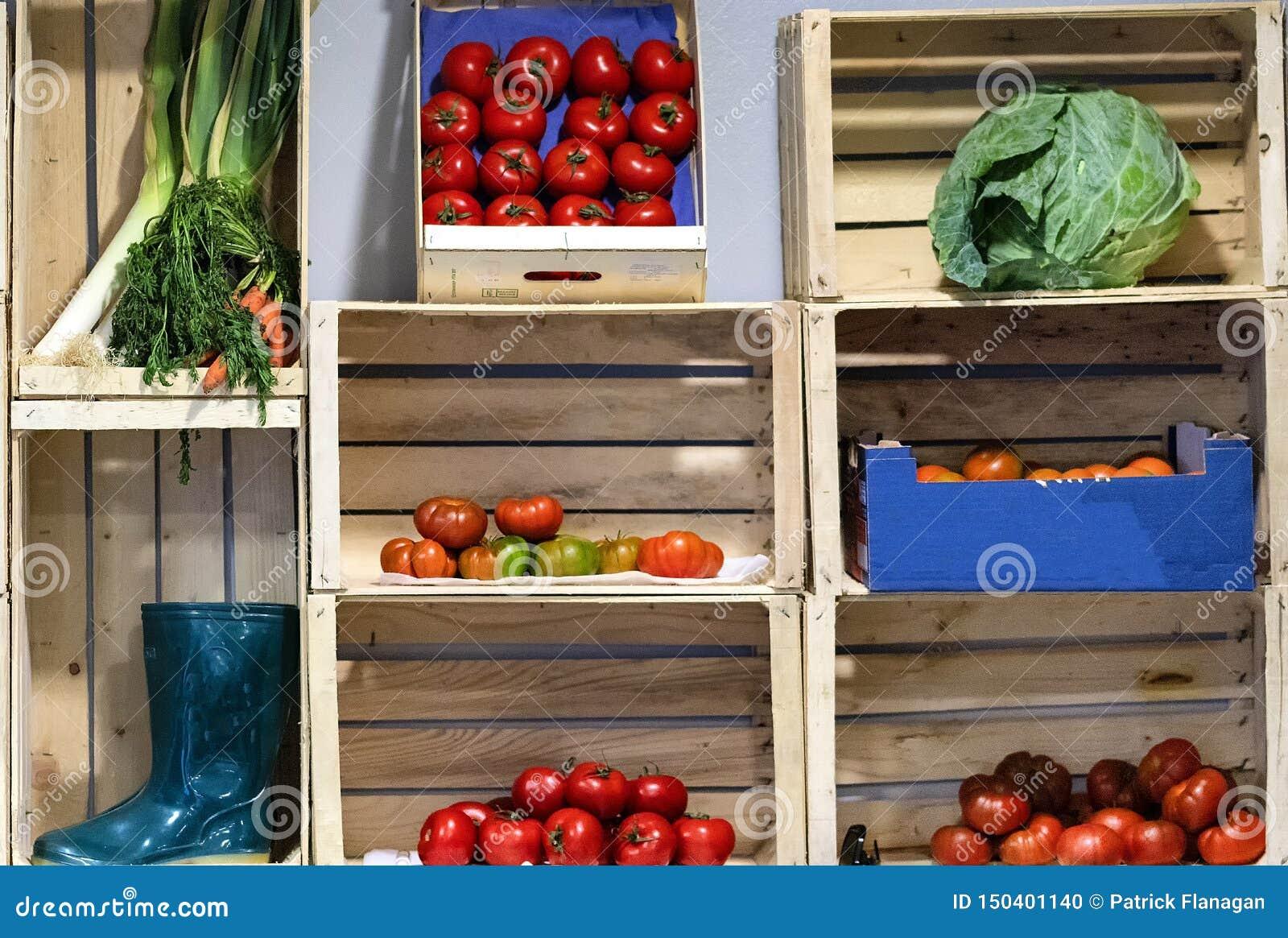 Собрание фрукта и овоща в коробках
