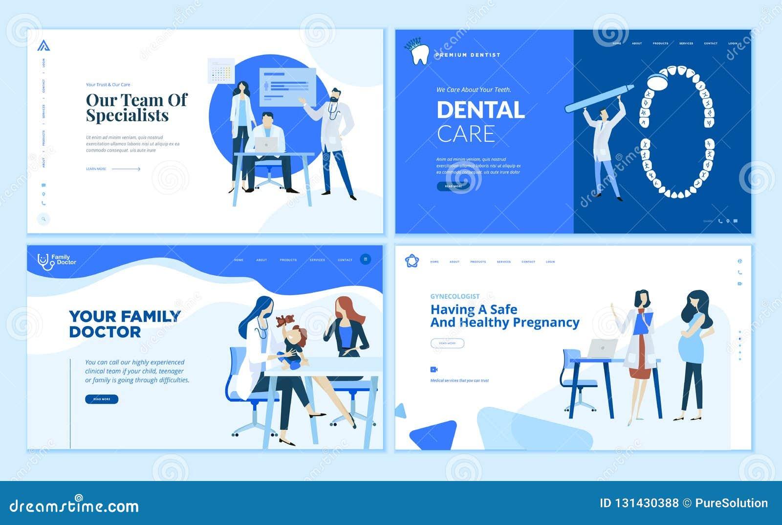 Собрание шаблонов дизайна интернет-страницы здравоохранения