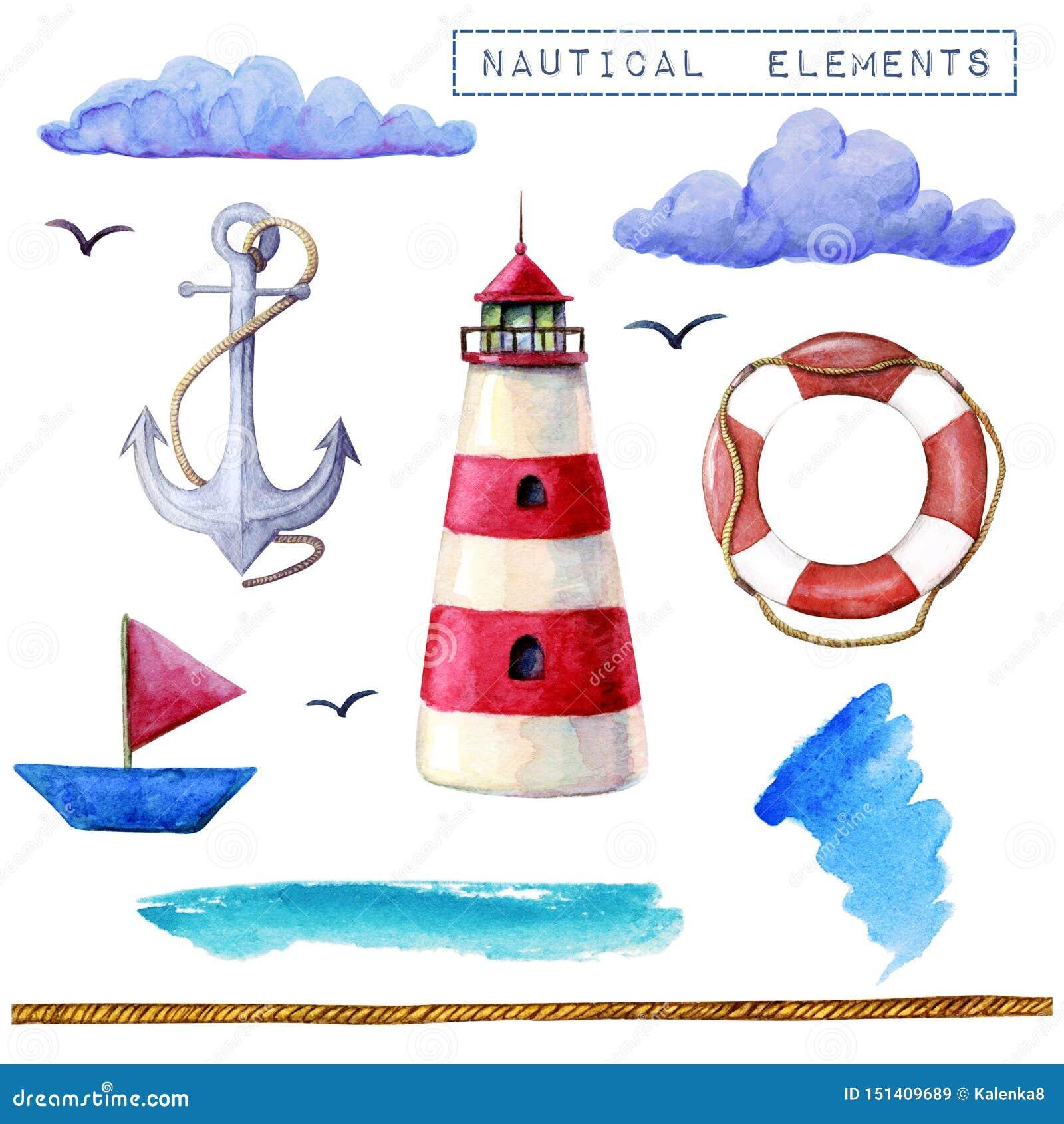 Собрание элементов акварели морское Маяк, корабль, lifebuoy, облака анкера изолированные на белом фоне Ультрамодные элементы для