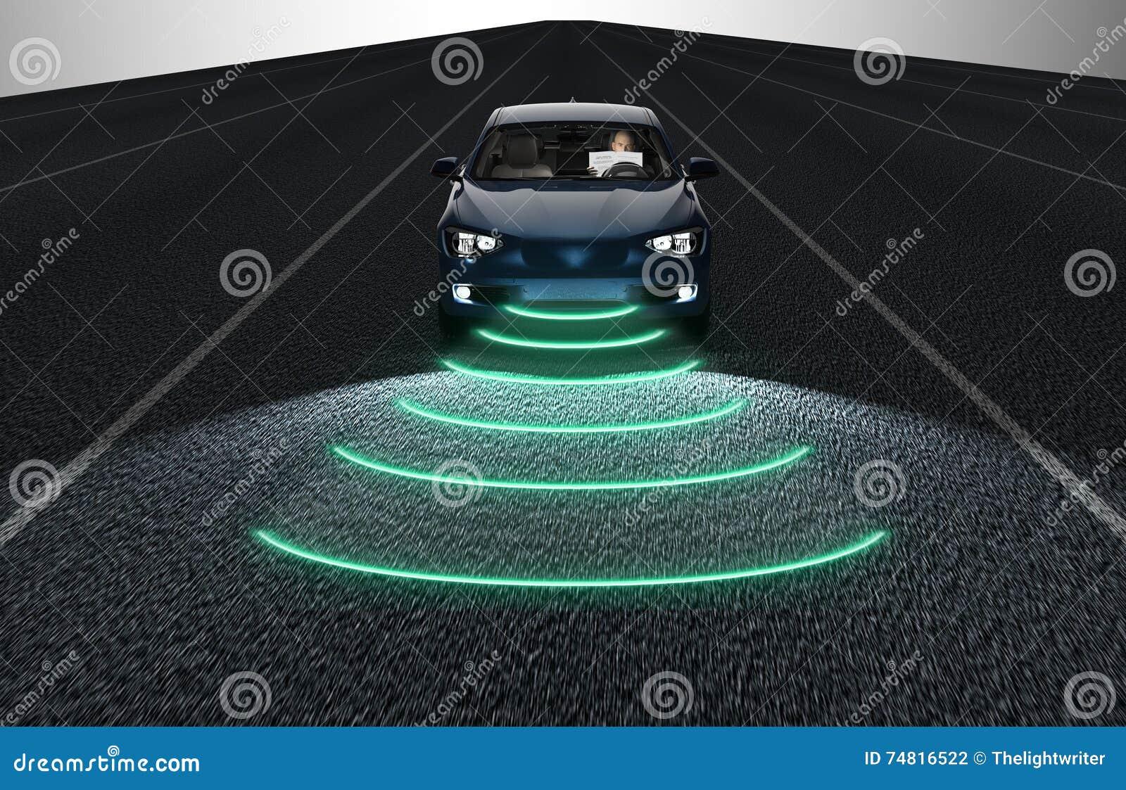 Собственная личность управляя автомобилем электрического счетнорешающего устройства на дороге
