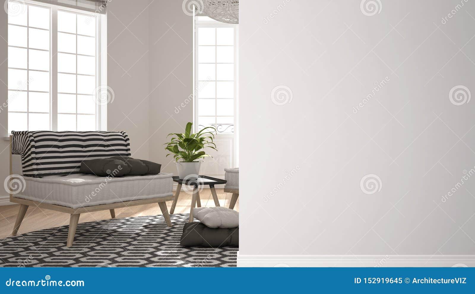 Современная белая и деревянная живущая комната с софой на стене переднего плана, идея архитектуры дизайна интерьера, концепция с