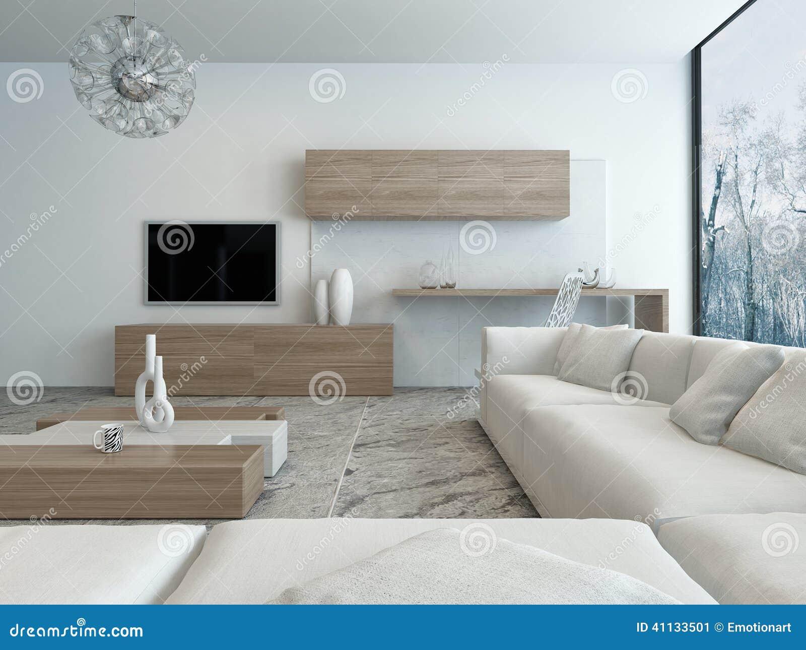 современная белая живущая комната с деревянной мебелью