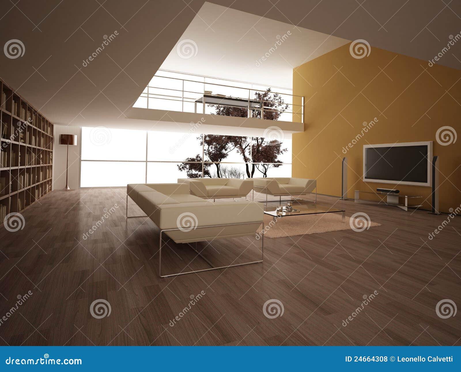 Современная большая жить-комната.