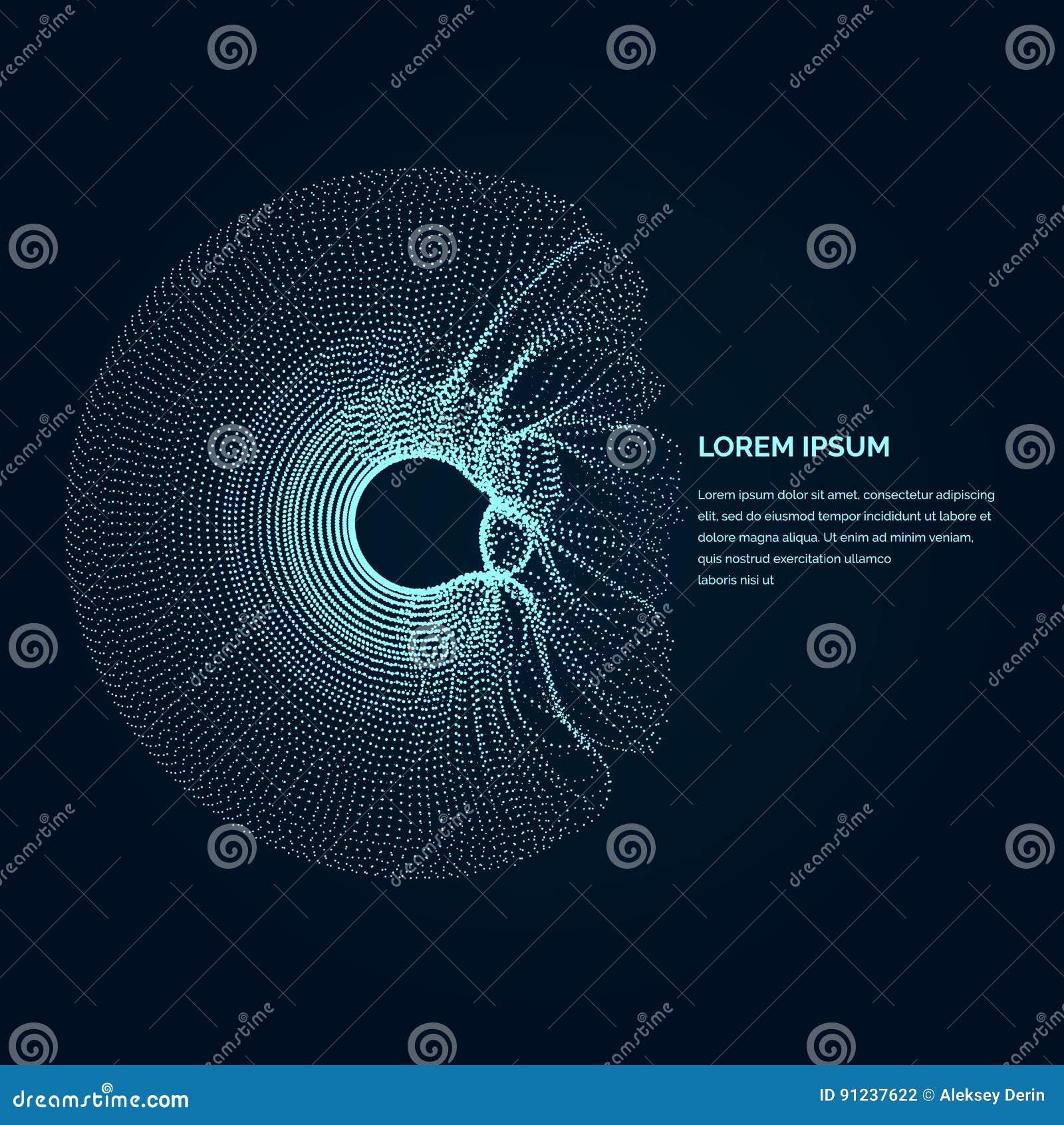 Современная иллюстрация с деформированной формой круга частиц