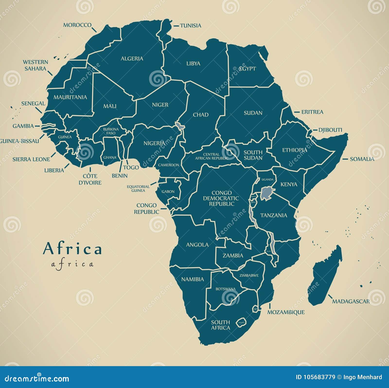 Современная карта - континент Африки с ярлыками страны