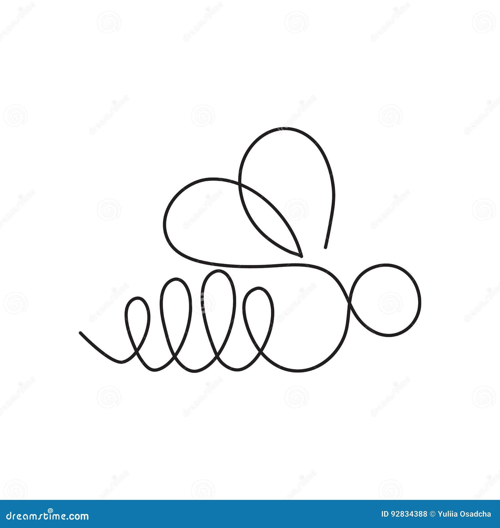 Современная непрерывная линия пчела Одна линия чертеж формы насекомого для логотипа, карточки, знамени, рогульки плаката