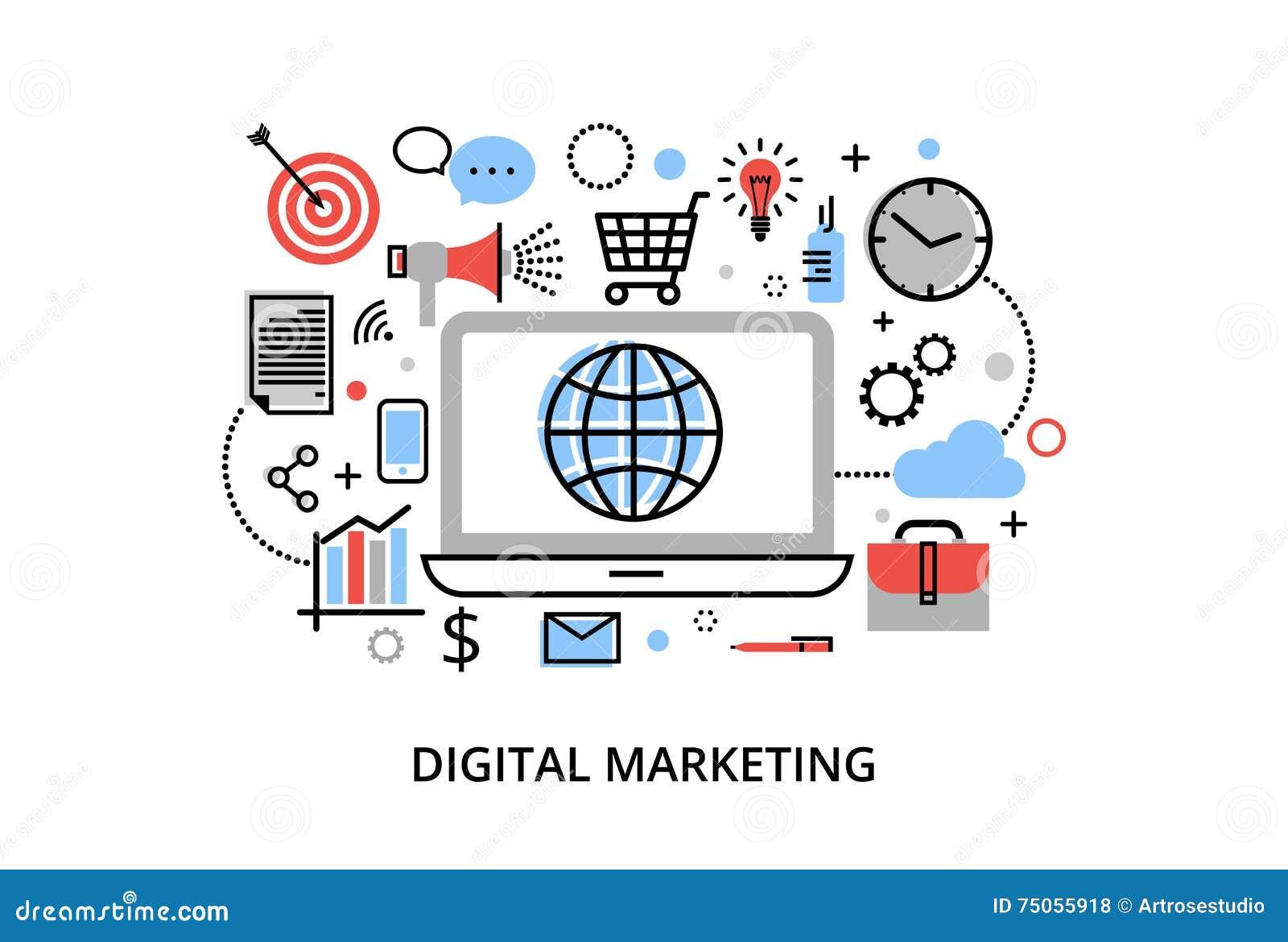 Современная плоская тонкая линия иллюстрация вектора дизайна, концепция цифрового маркетинга, идея маркетинга интернета и новый р