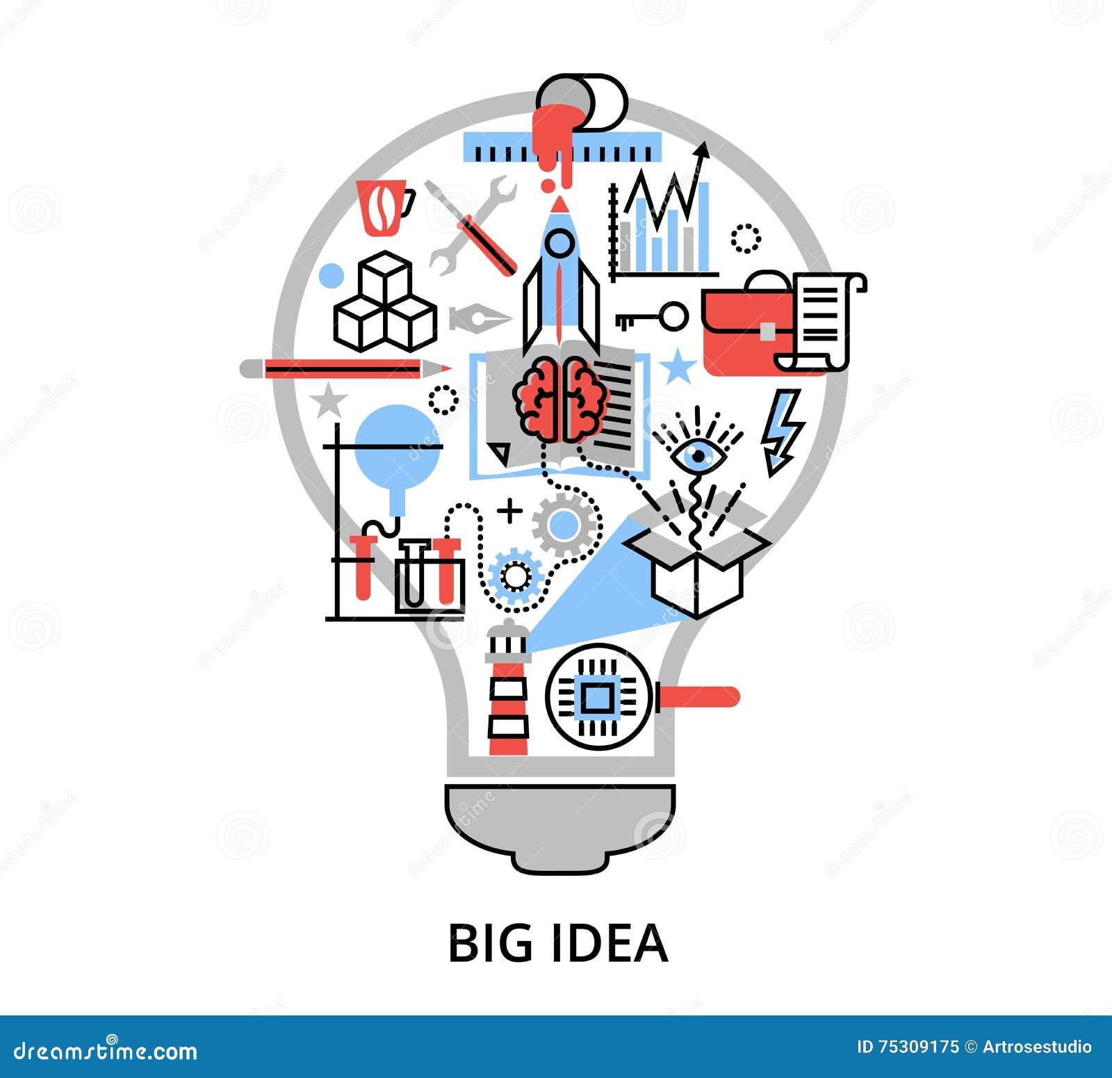 Современная плоская тонкая линия иллюстрация вектора дизайна, концепция творческой большой идеи в форме лампы шарика