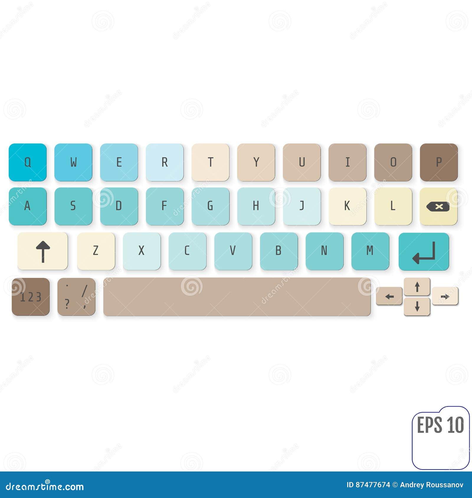 Современная реалистическая клавиатура для ПК smartphone или таблетки с альфой