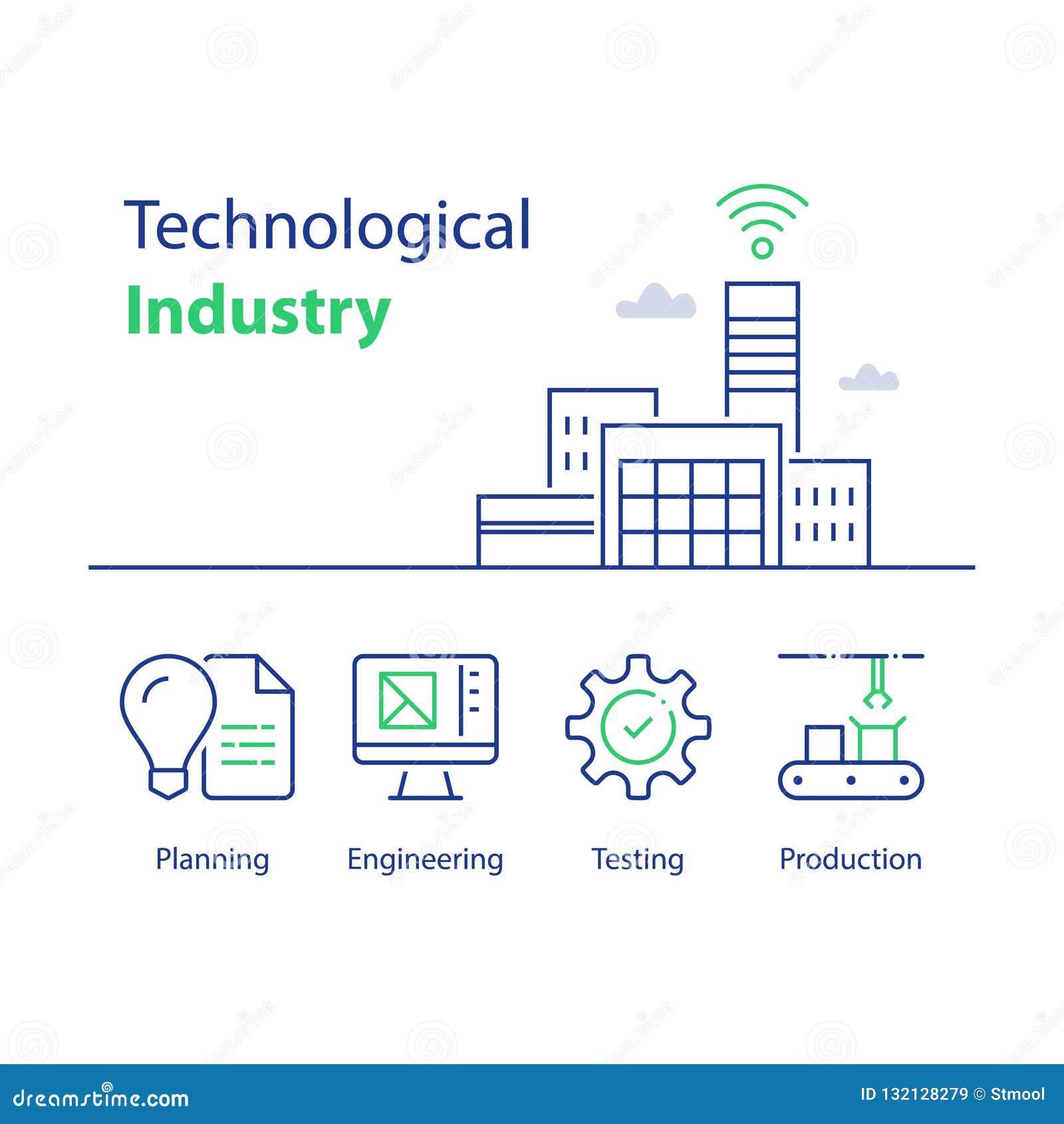 Современное здание фабрики, технологическая индустрия, автоматизированная продукция, умное решение, сборочный конвейер, проверка