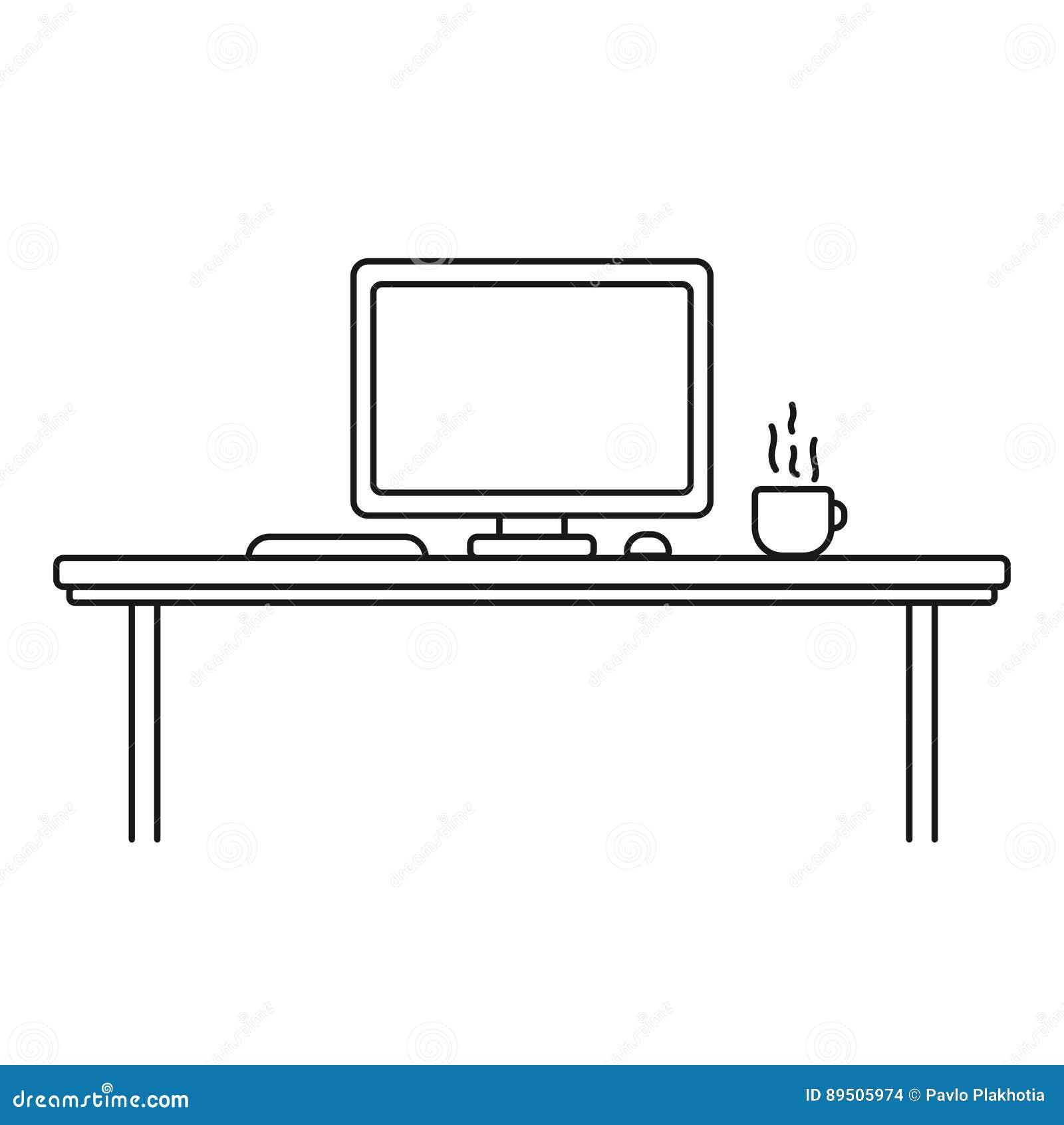 Современное дизайнерское место для работы, линейный стиль Компьютер, чашка, клавиатура и мышь в стиле плана черная белизна