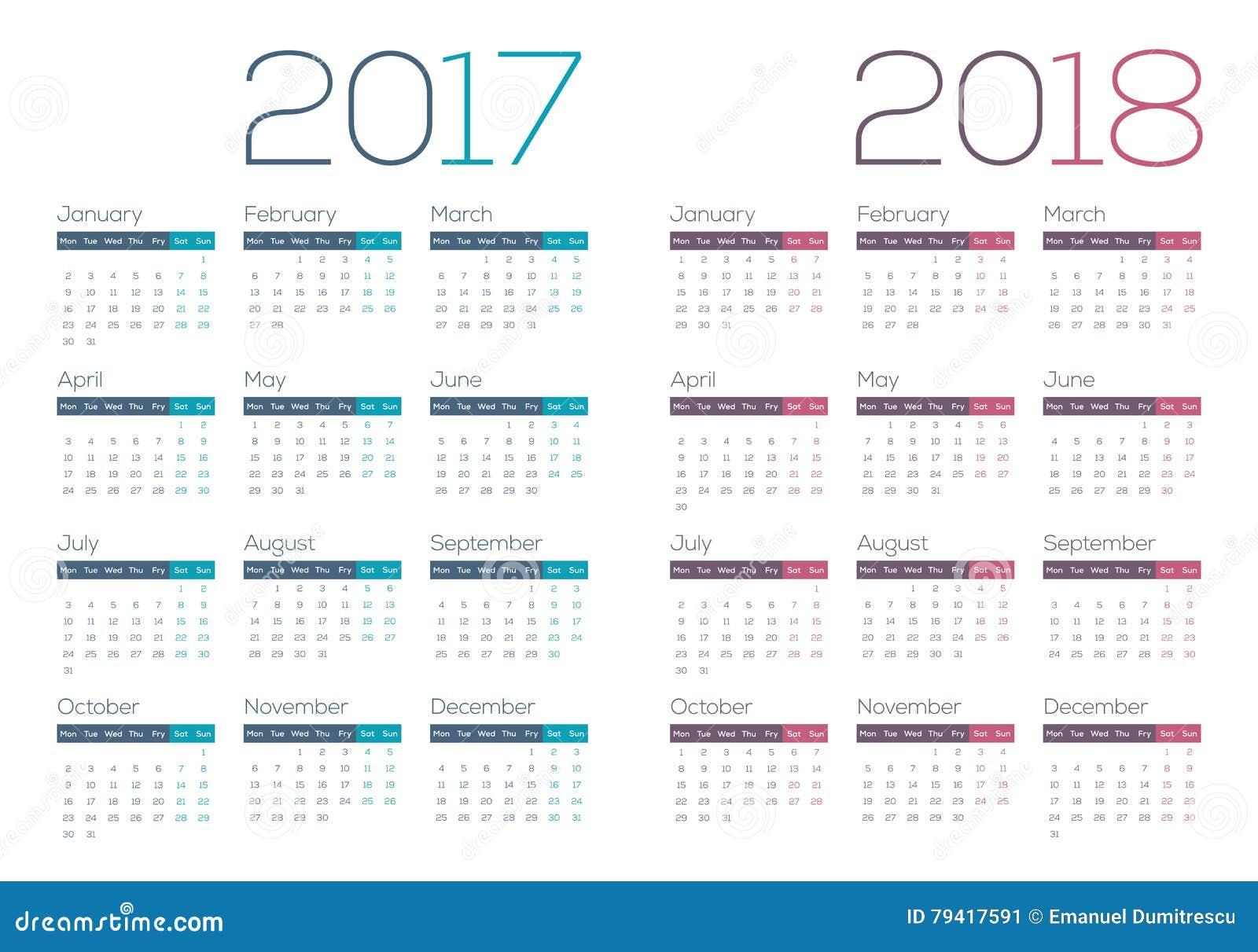 Календарь 2017-2018 года по неделям
