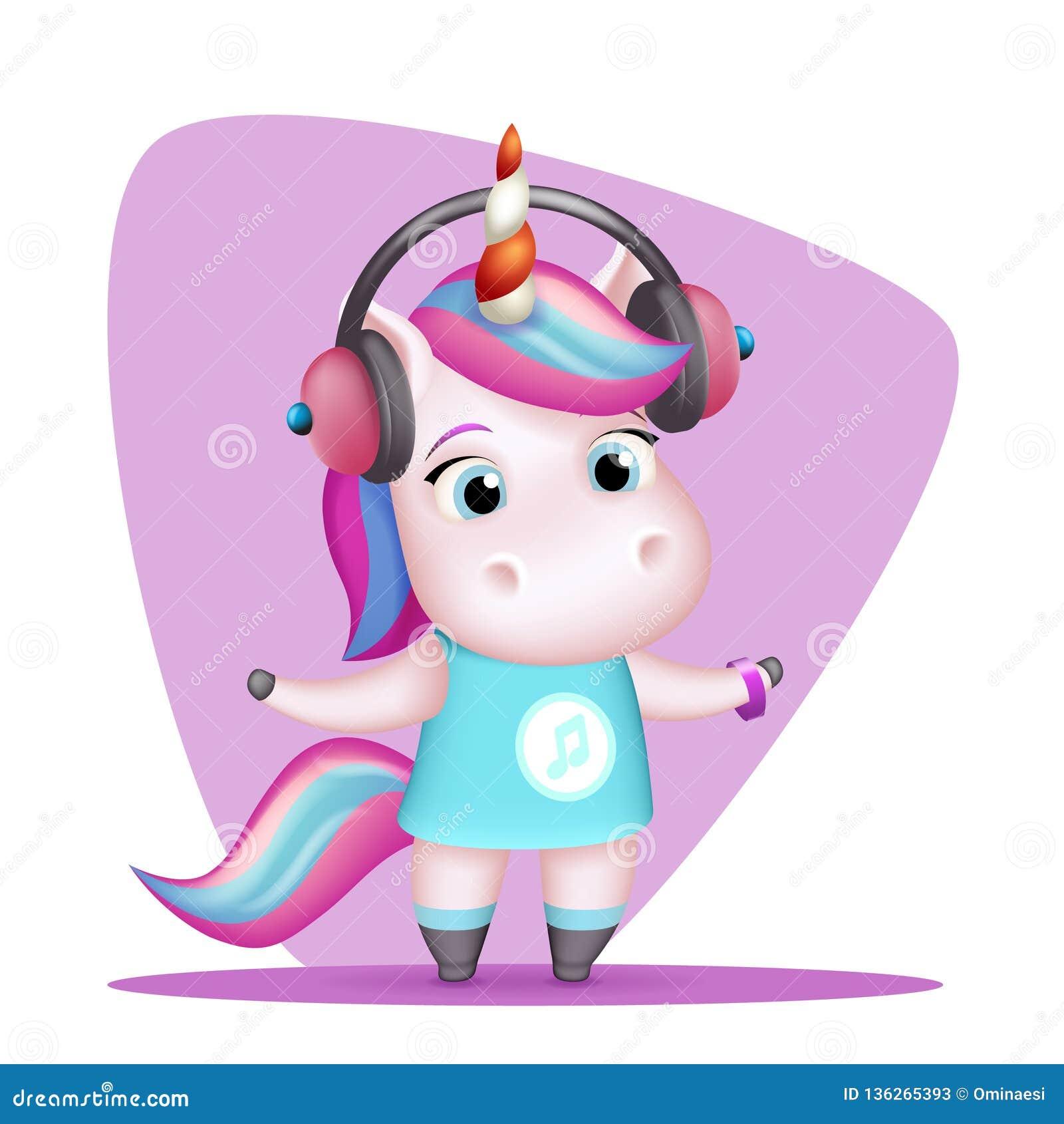 Современные наушники единорога девушки слушают изолированная музыкой милая иллюстрация детей вектора дизайна мультфильма 3d