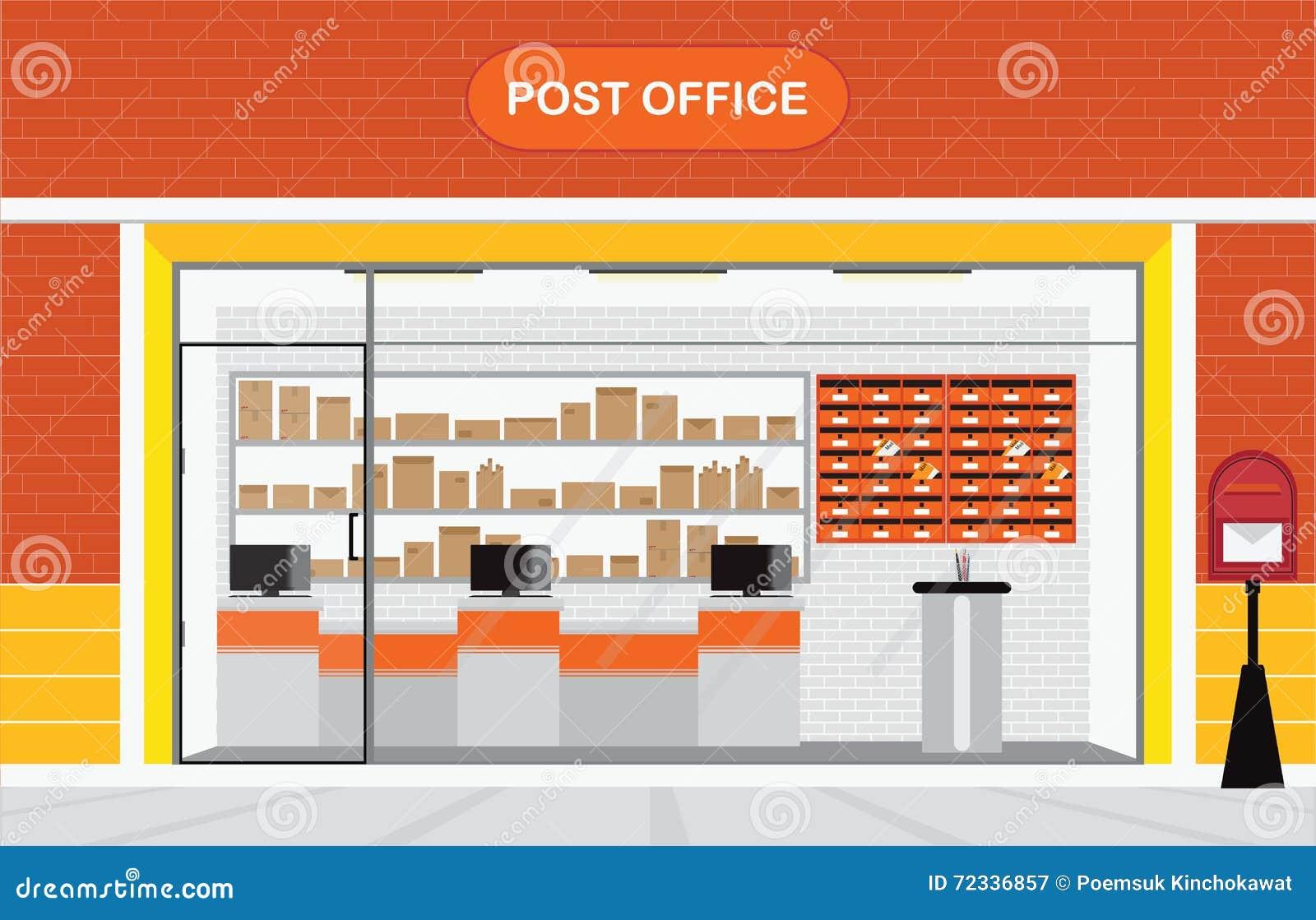 Современные экстерьер и интерьер здания почтового отделения