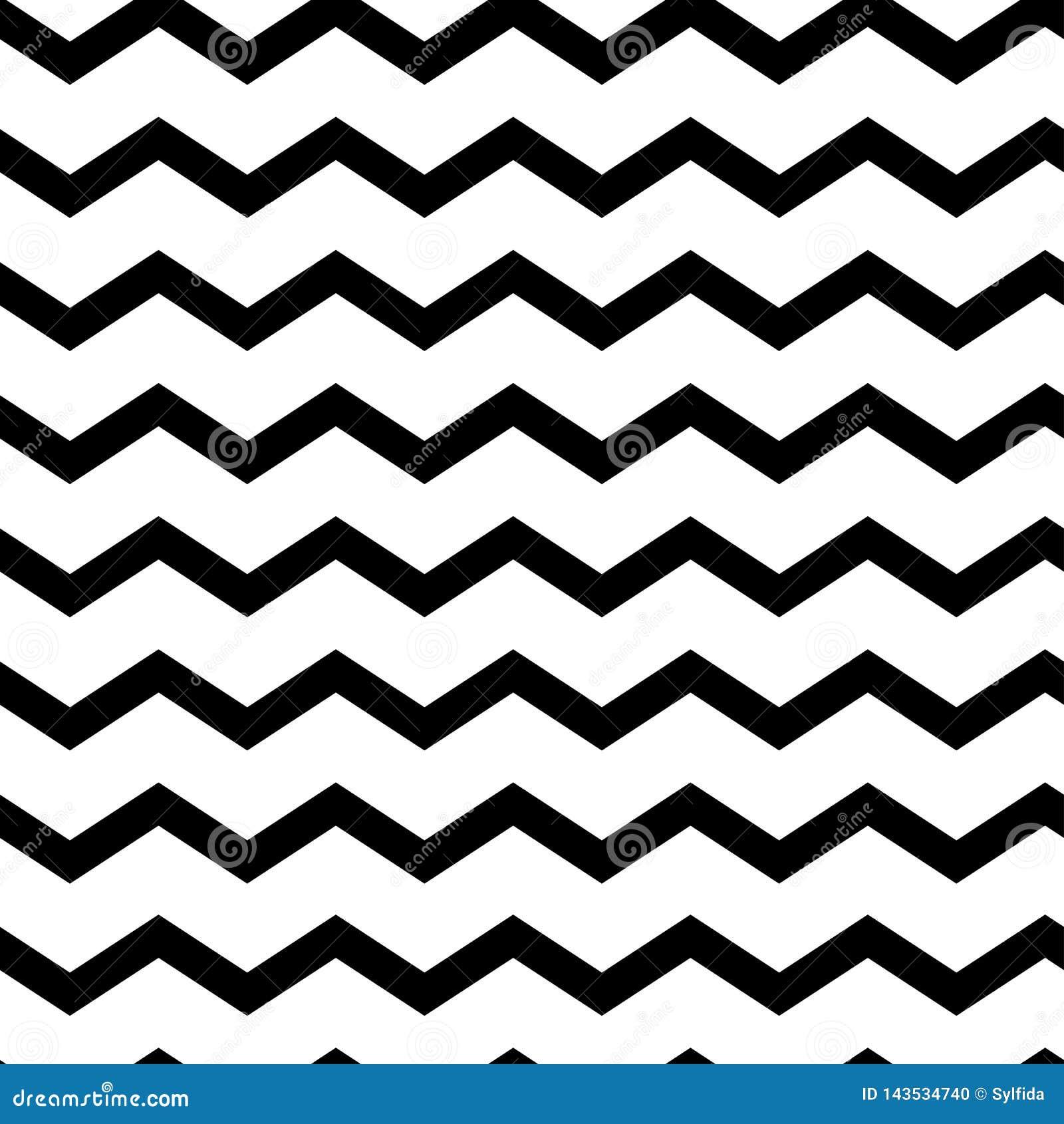 Современный геометрический безшовный зигзаг картины Волны черноты Предпосылка классики striped ретро также вектор иллюстрации при